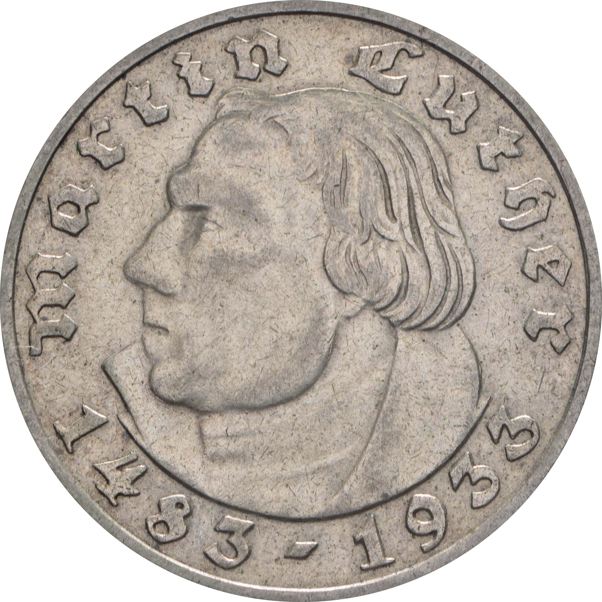Vorderseite :Deutschland : 2 Reichsmark Luther winz. Rs. 1933 ss/vz.