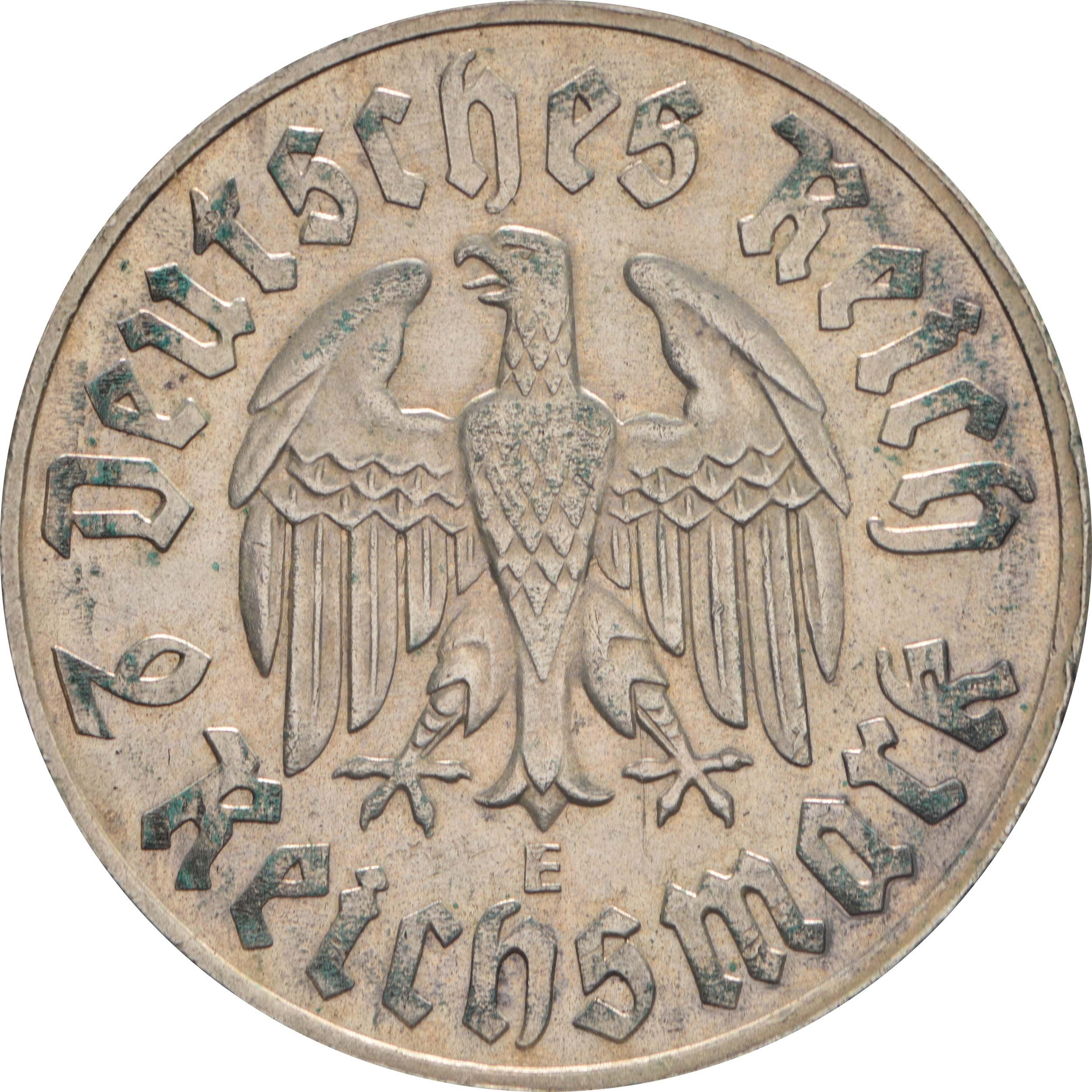 Rückseite :Deutschland : 2 Reichsmark Luther patina 1933 vz.