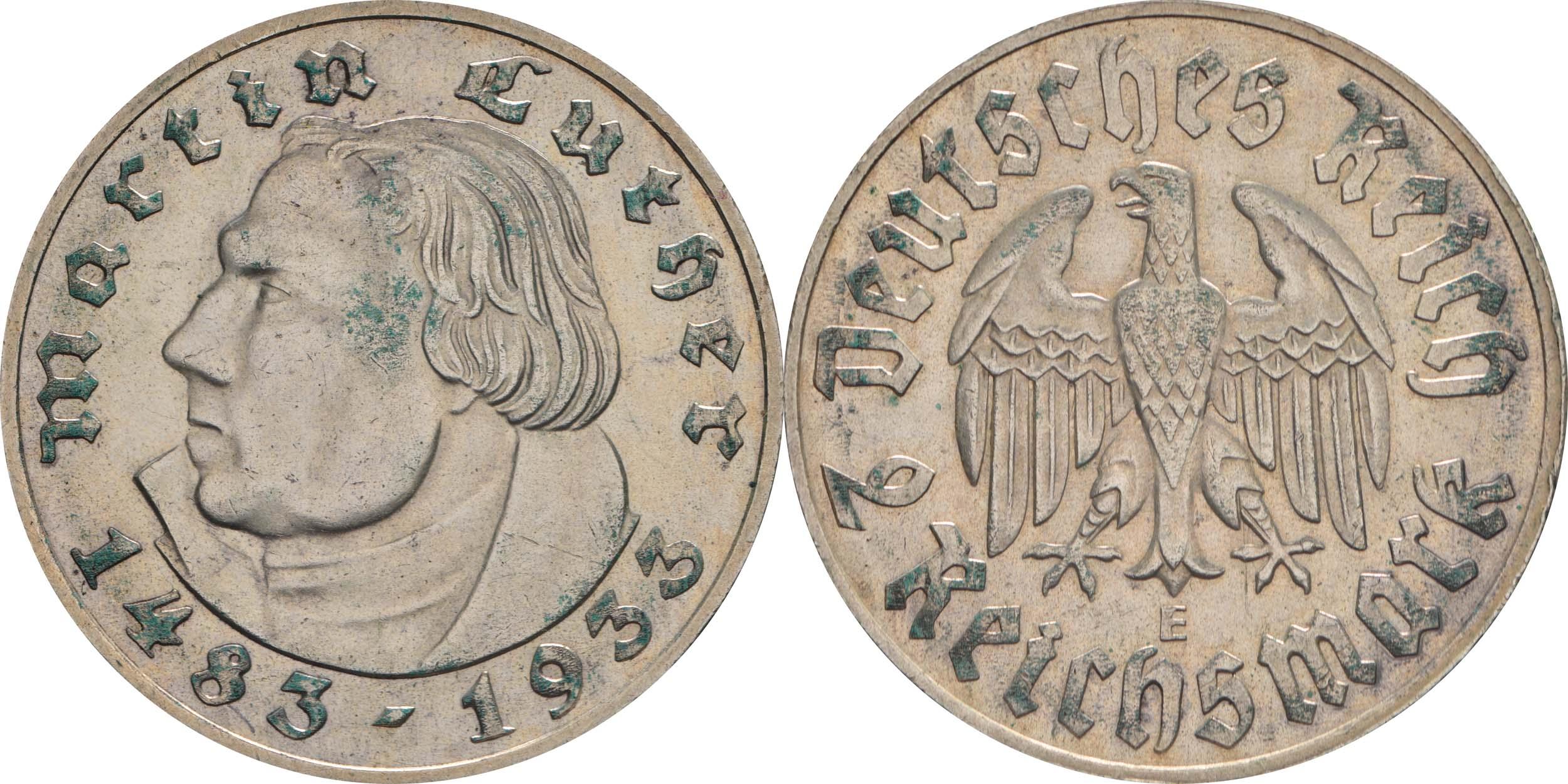 Deutschland : 2 Reichsmark Luther patina 1933 vz.