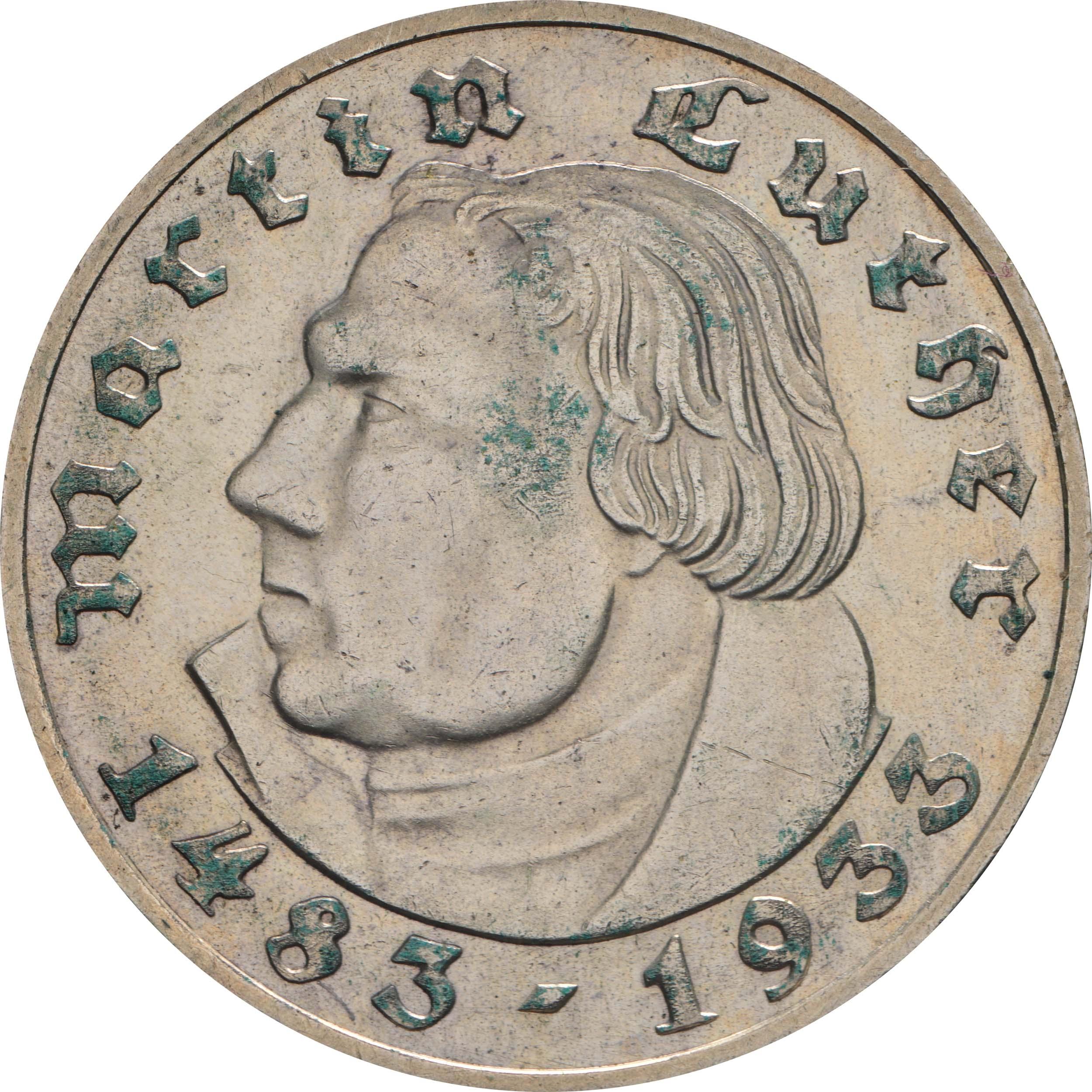 Vorderseite :Deutschland : 2 Reichsmark Luther patina 1933 vz.