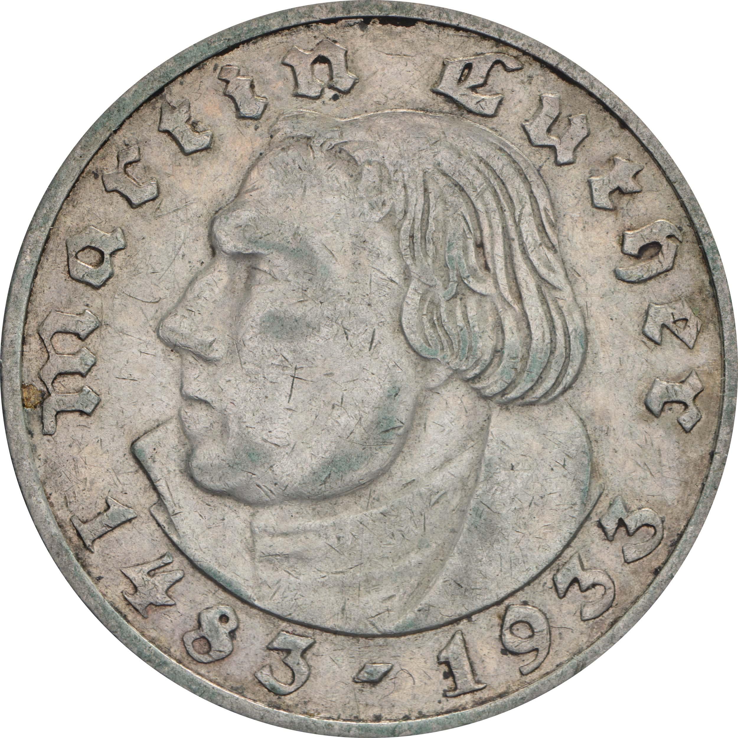 Vorderseite:Deutschland : 2 Reichsmark Luther patina 1933 ss.