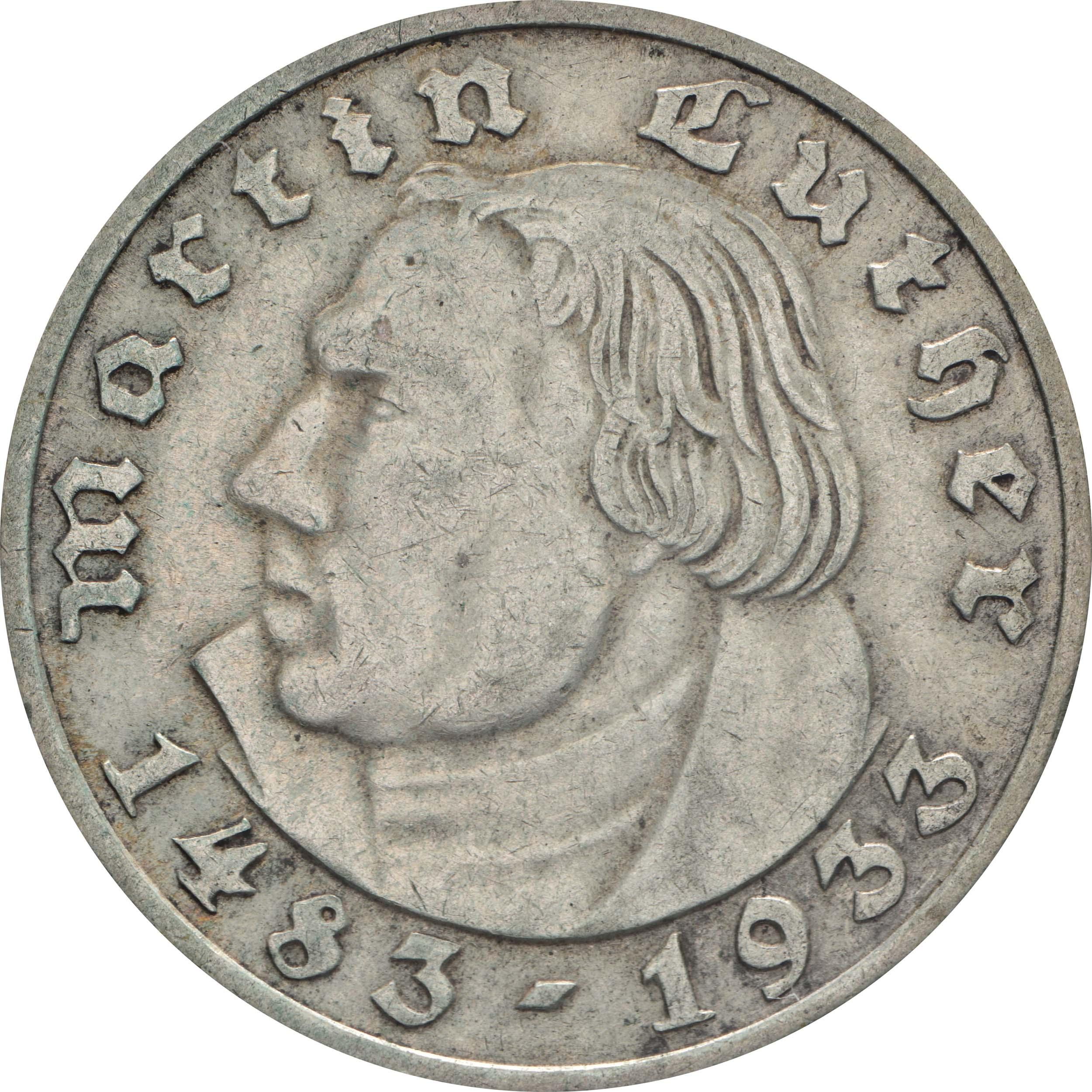 Vorderseite:Deutschland : 2 Reichsmark Luther  1933 ss/vz.