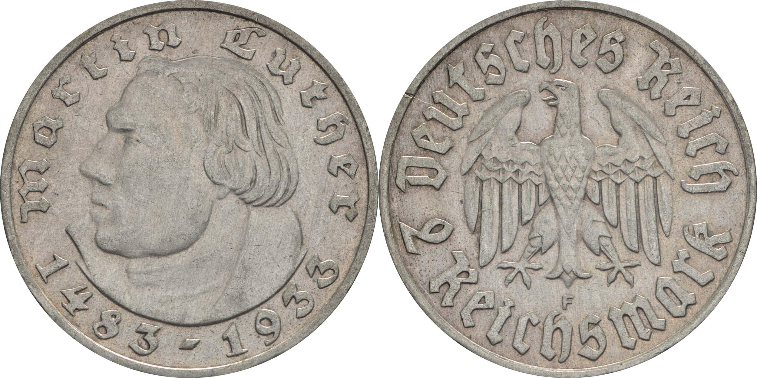 Übersicht:Deutschland : 2 Reichsmark Luther  1933 f.vz.