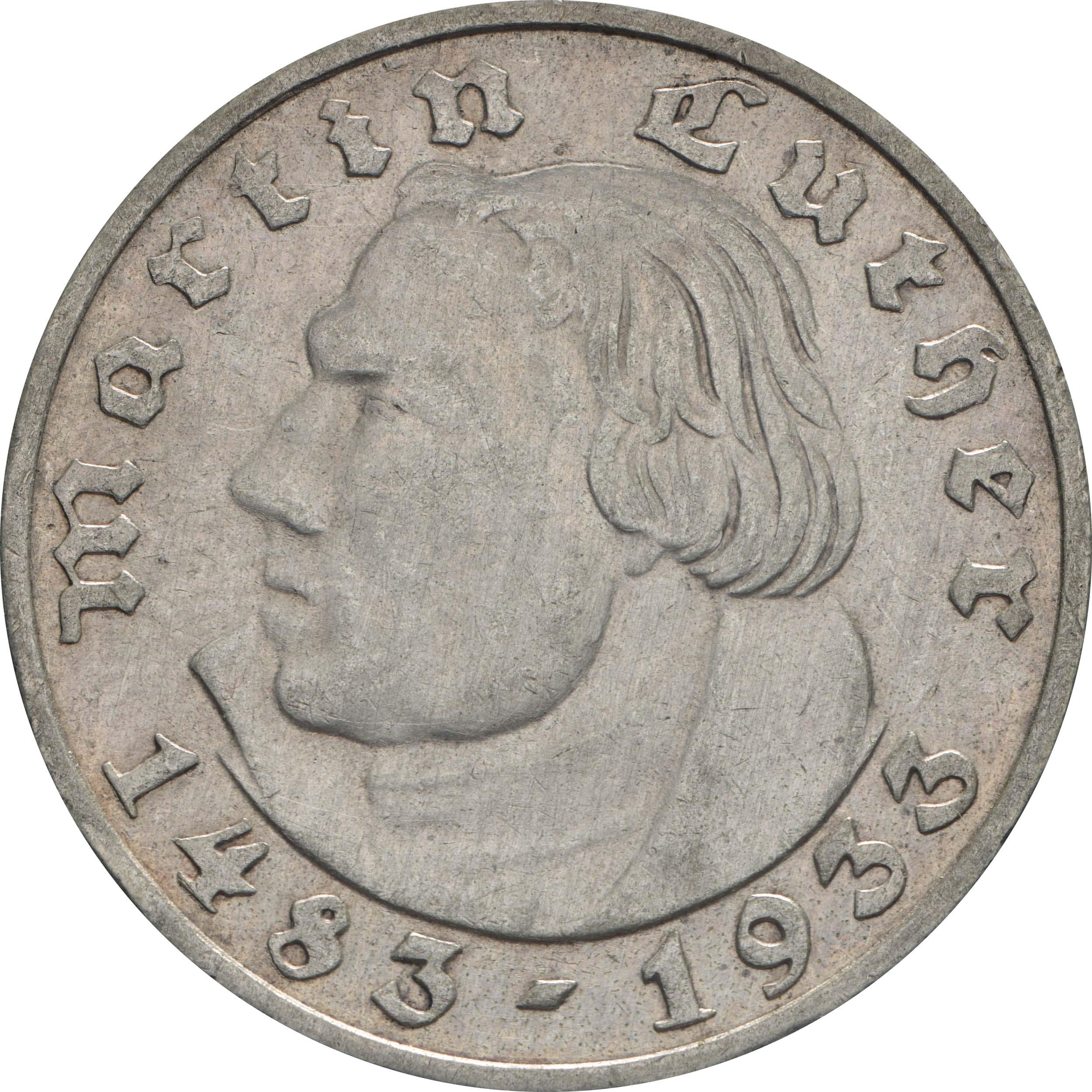 Vorderseite:Deutschland : 2 Reichsmark Luther  1933 f.vz.