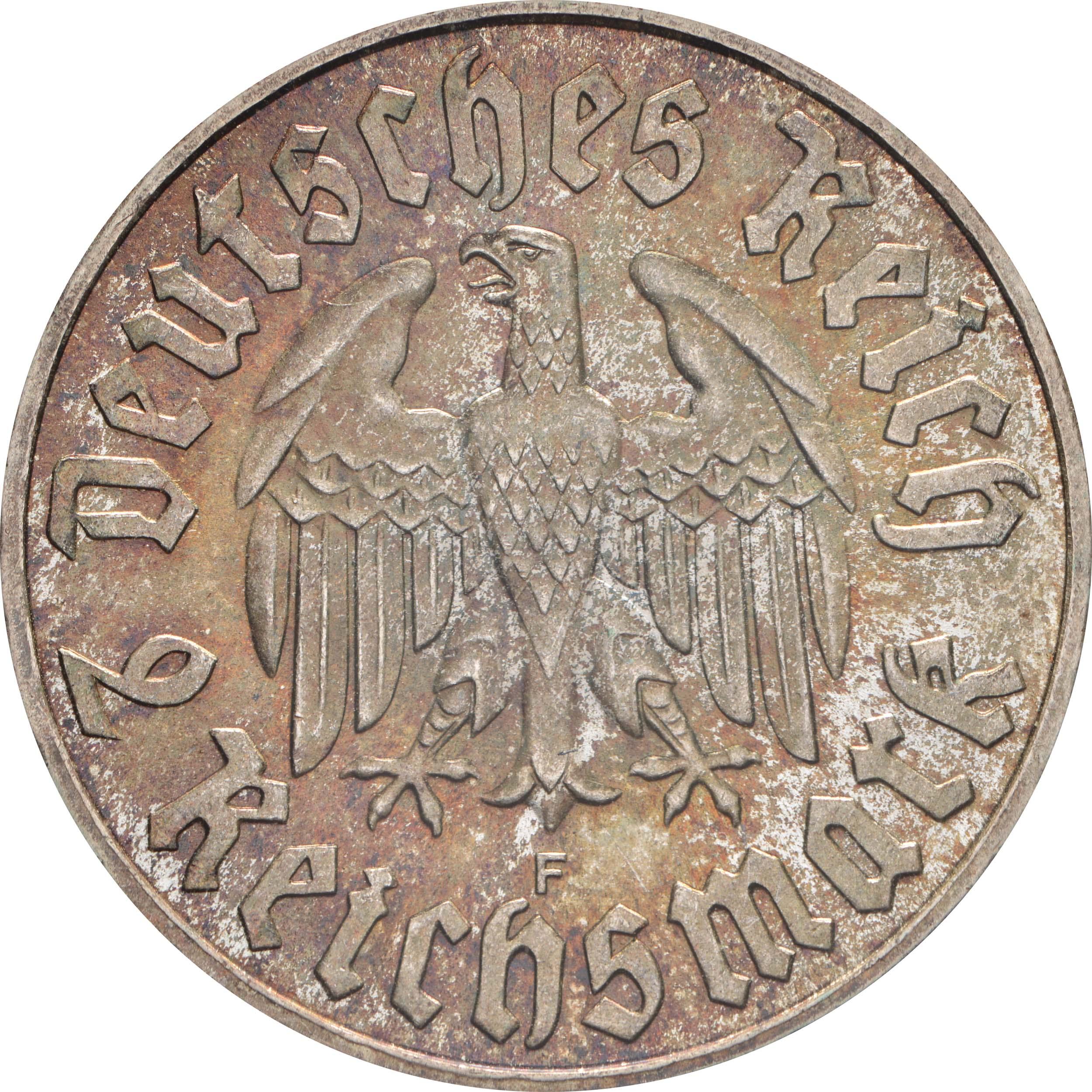 Rückseite:Deutschland : 2 Reichsmark Luther patina 1933 Stgl.