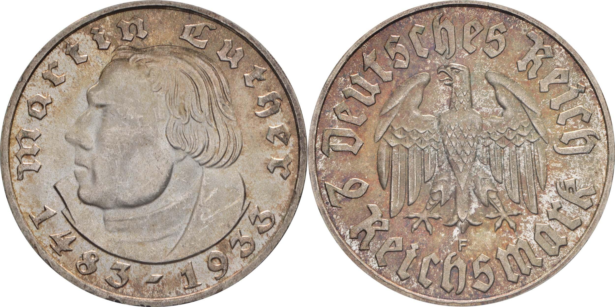 Lieferumfang:Deutschland : 2 Reichsmark Luther patina 1933 Stgl.