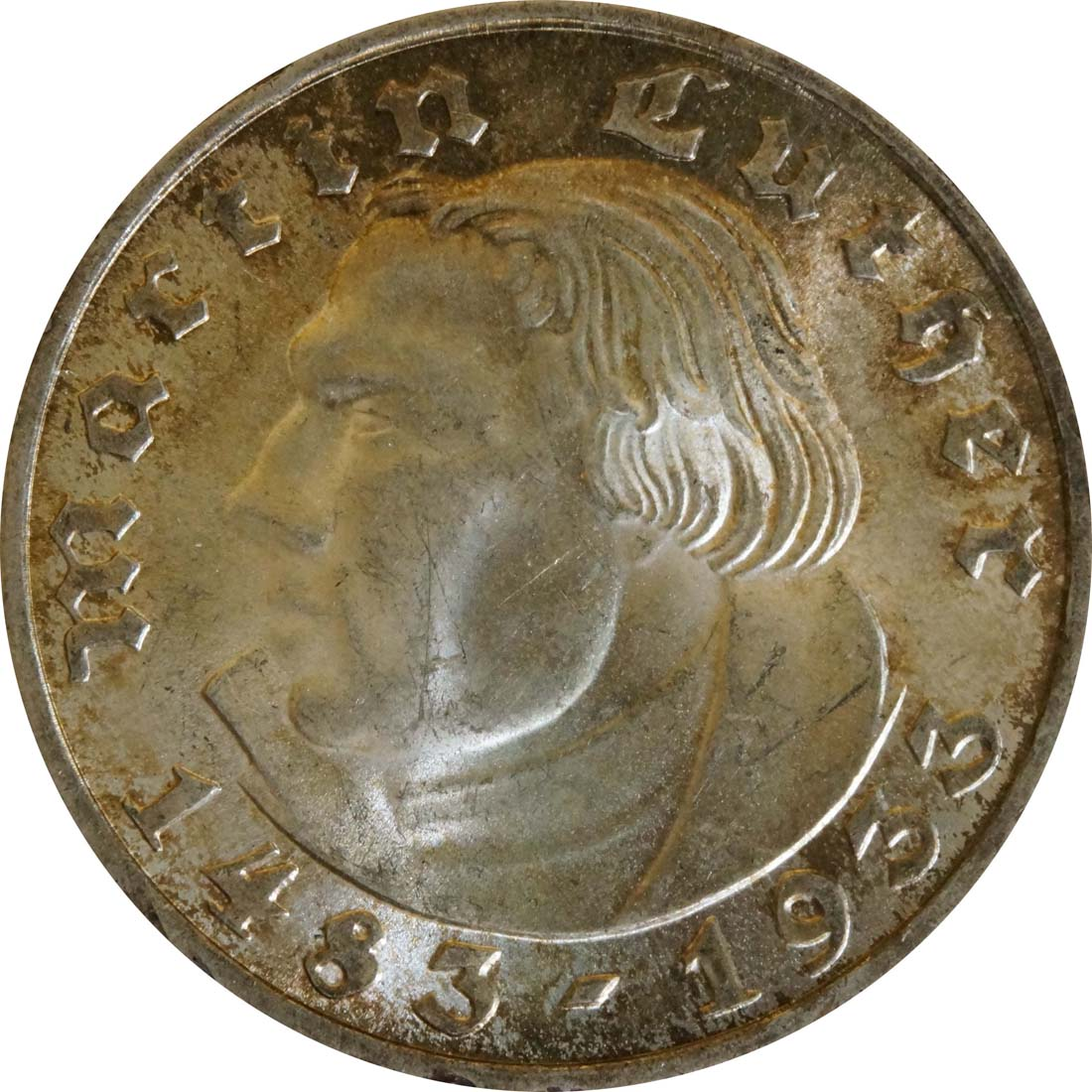 Vorderseite:Deutschland : 2 Reichsmark Luther patina 1933 Stgl.