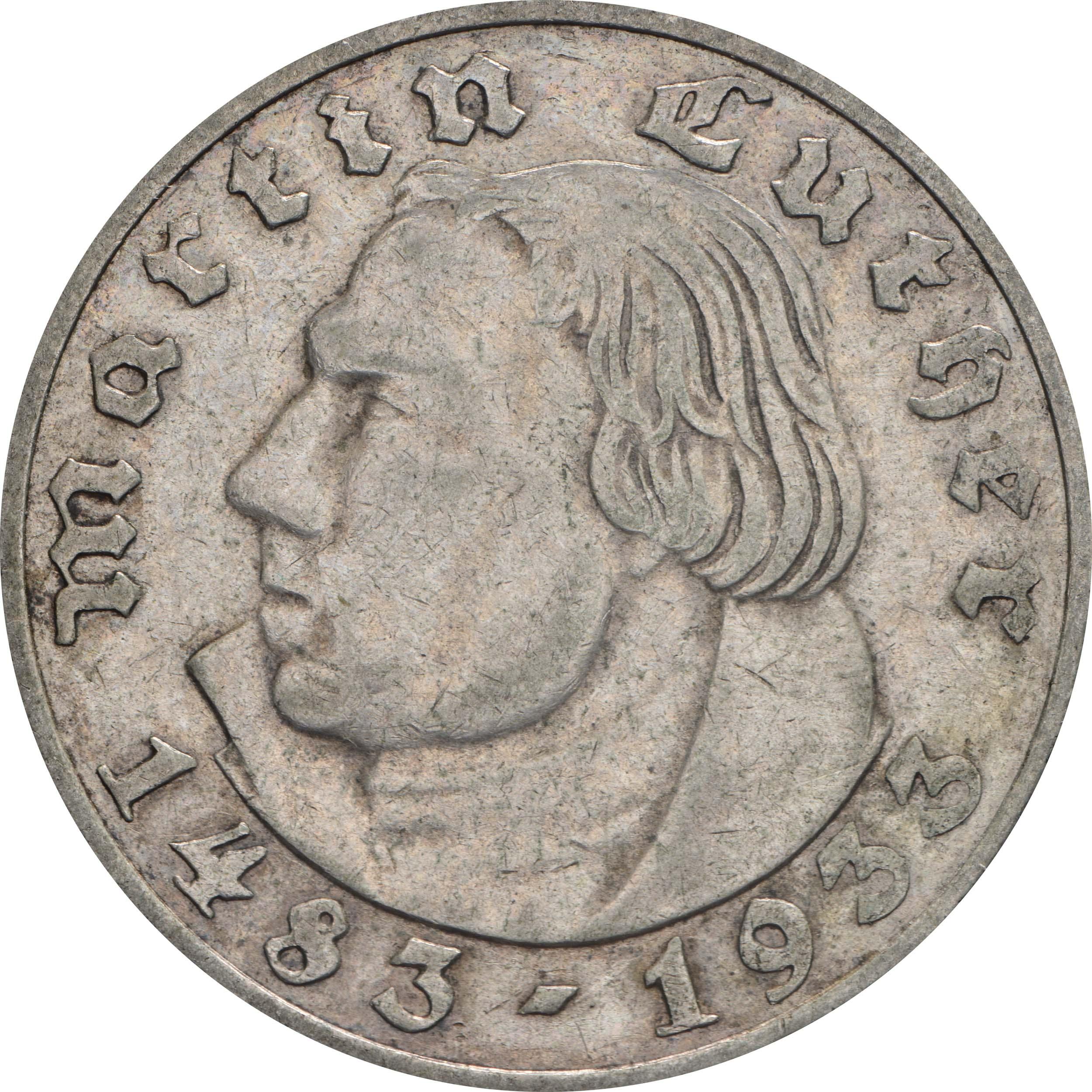 Bild der Vorderseite :Deutschland - 2 Reichsmark Luther  1933 ss/vz.