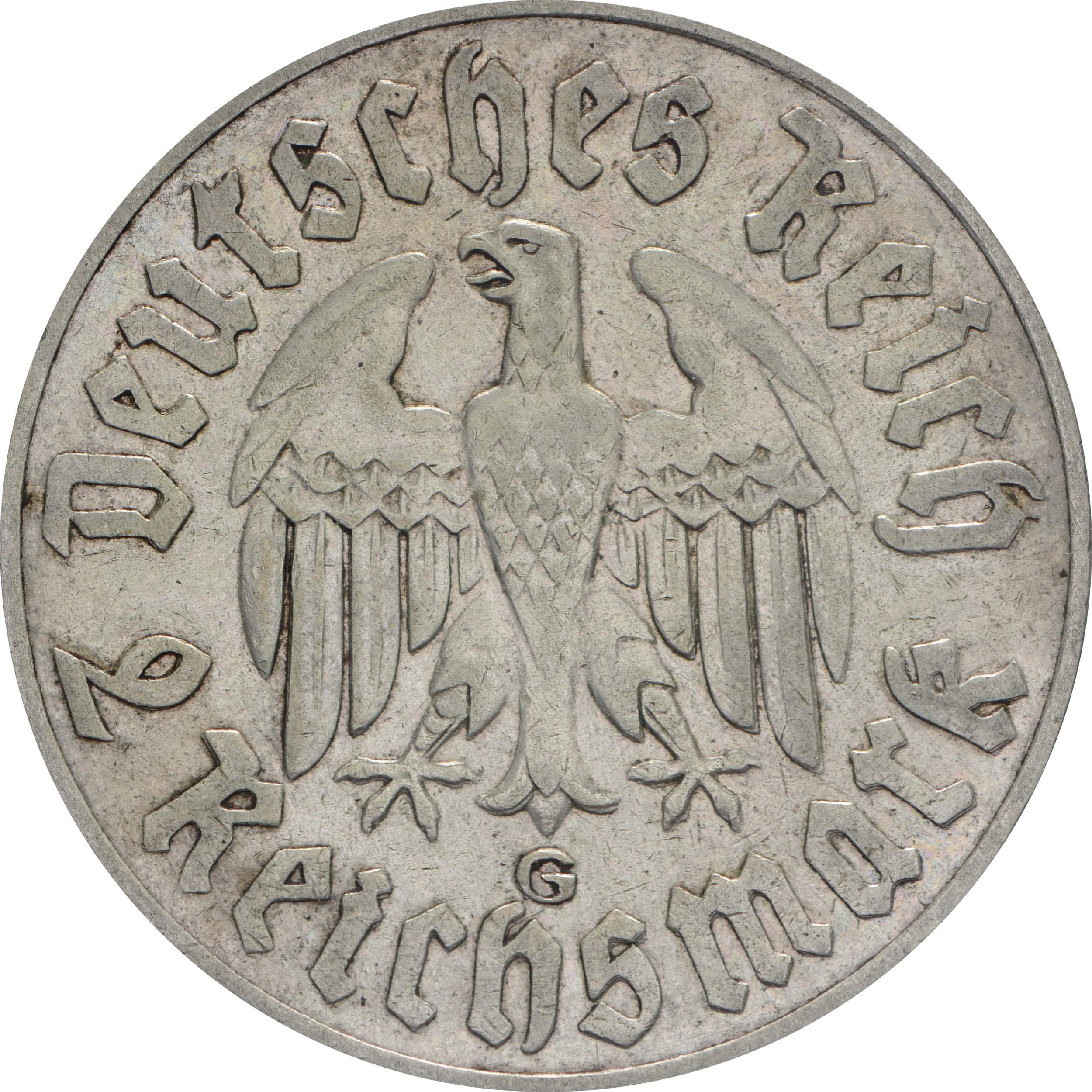 Rückseite :Deutschland : 2 Reichsmark Luther  1933 ss/vz.