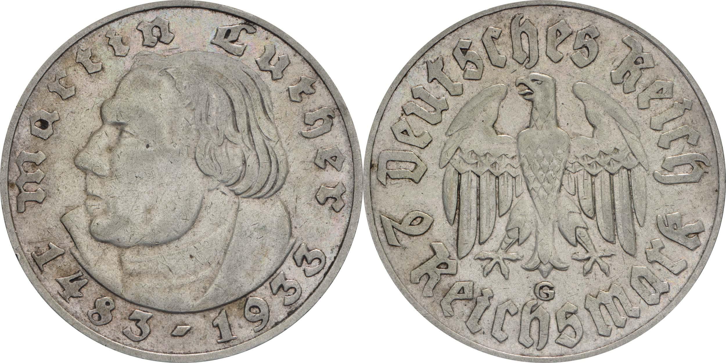 deutschland 2 reichsmark luther 1933 g silber ss vz euro. Black Bedroom Furniture Sets. Home Design Ideas