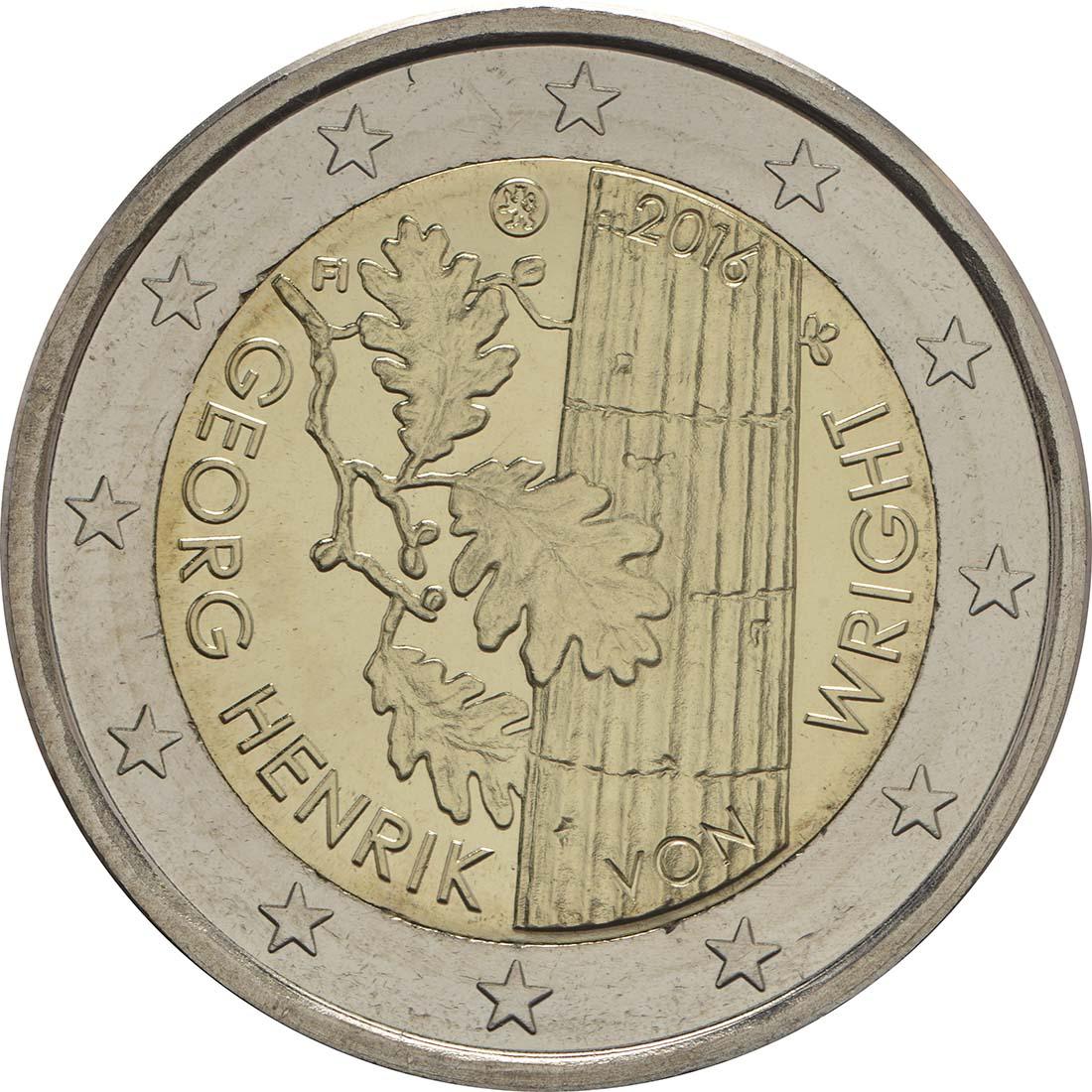 Rückseite:Finnland : 2 Euro Georg Henrik von Wright  2016 bfr