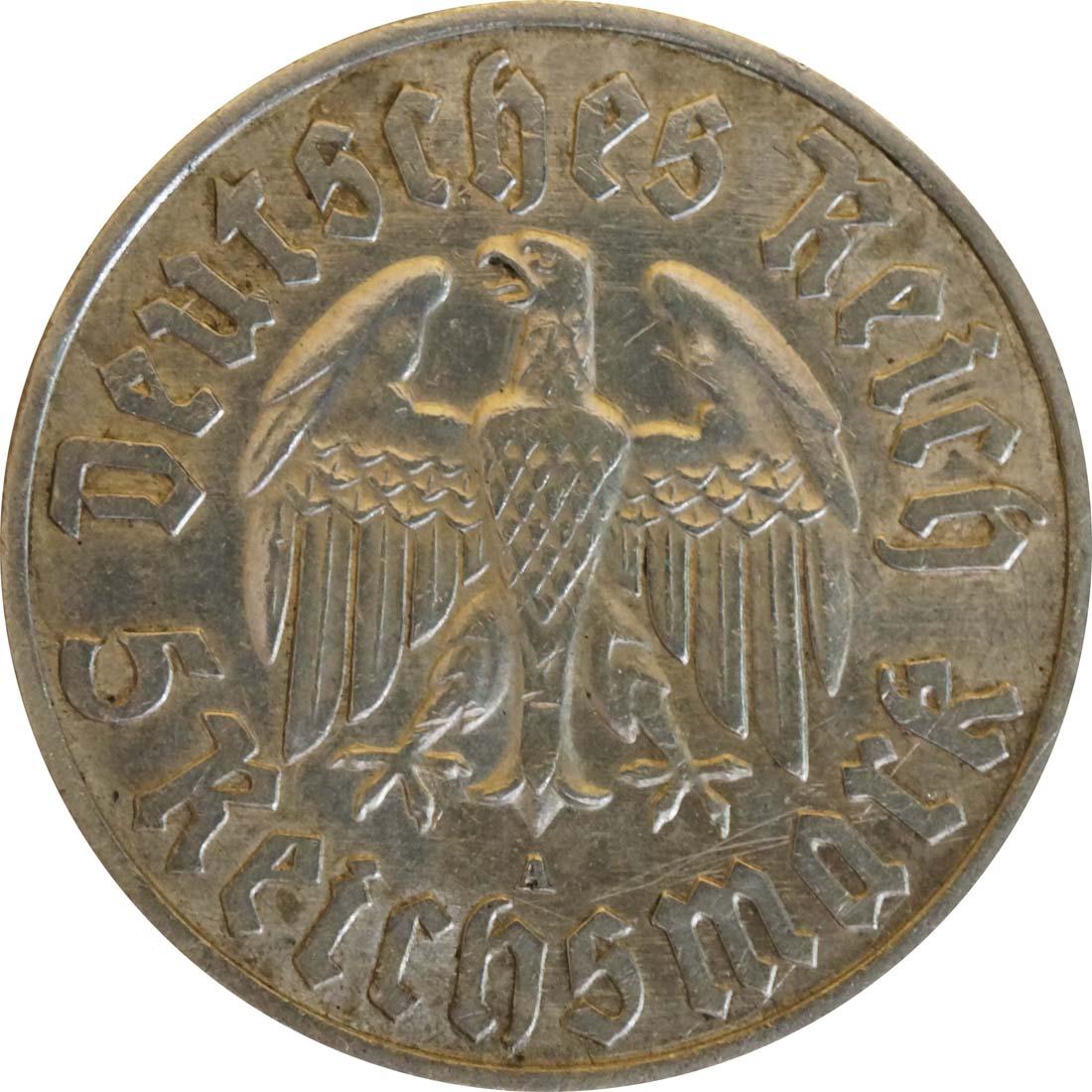 Rückseite:Deutschland : 5 Reichsmark Luther patina 1933 vz.