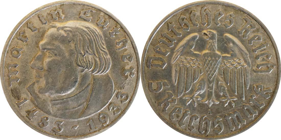 Übersicht:Deutschland : 5 Reichsmark Luther patina 1933 vz.