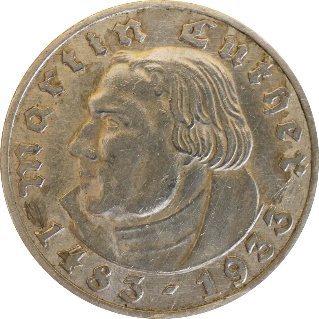 Vorderseite:Deutschland : 5 Reichsmark Luther patina 1933 vz.