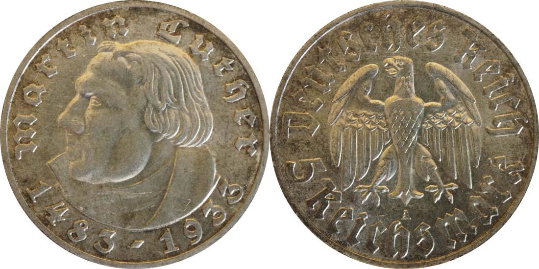 Deutschland : 5 Reichsmark Luther patina 1933 vz/Stgl.