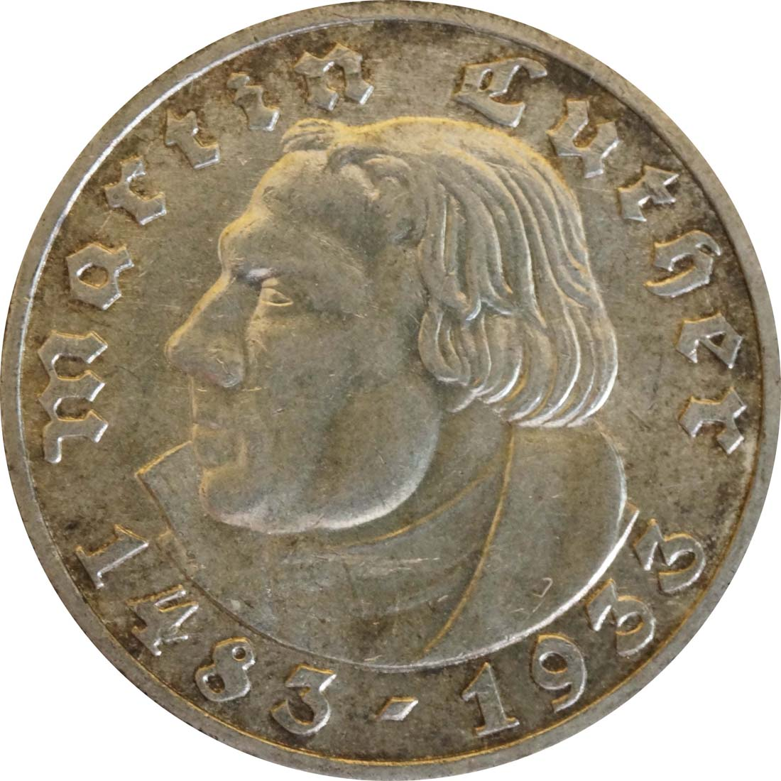Vorderseite:Deutschland : 5 Reichsmark Luther patina 1933 vz/Stgl.