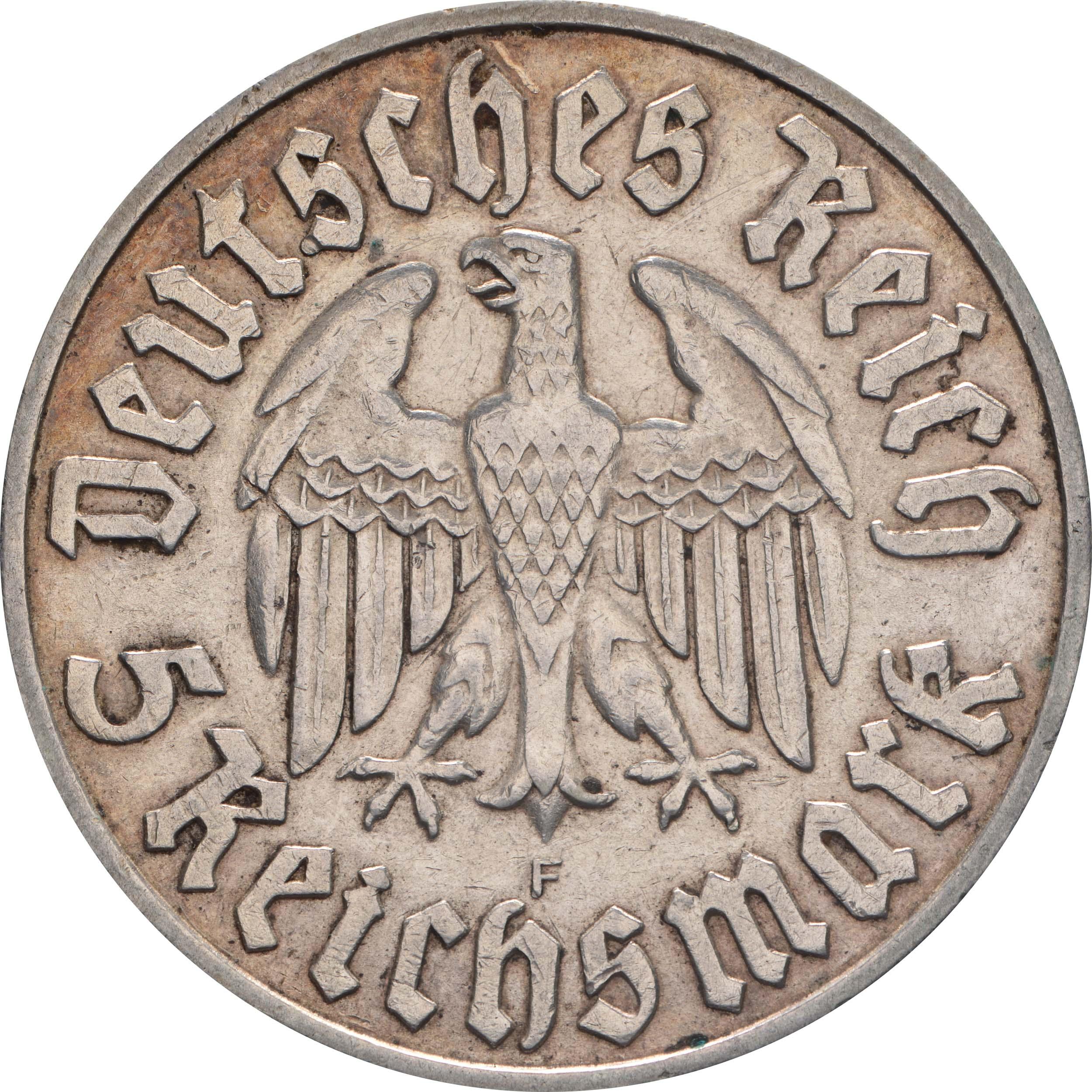 Rückseite:Deutschland : 5 Reichsmark Luther patina 1933 ss/vz.