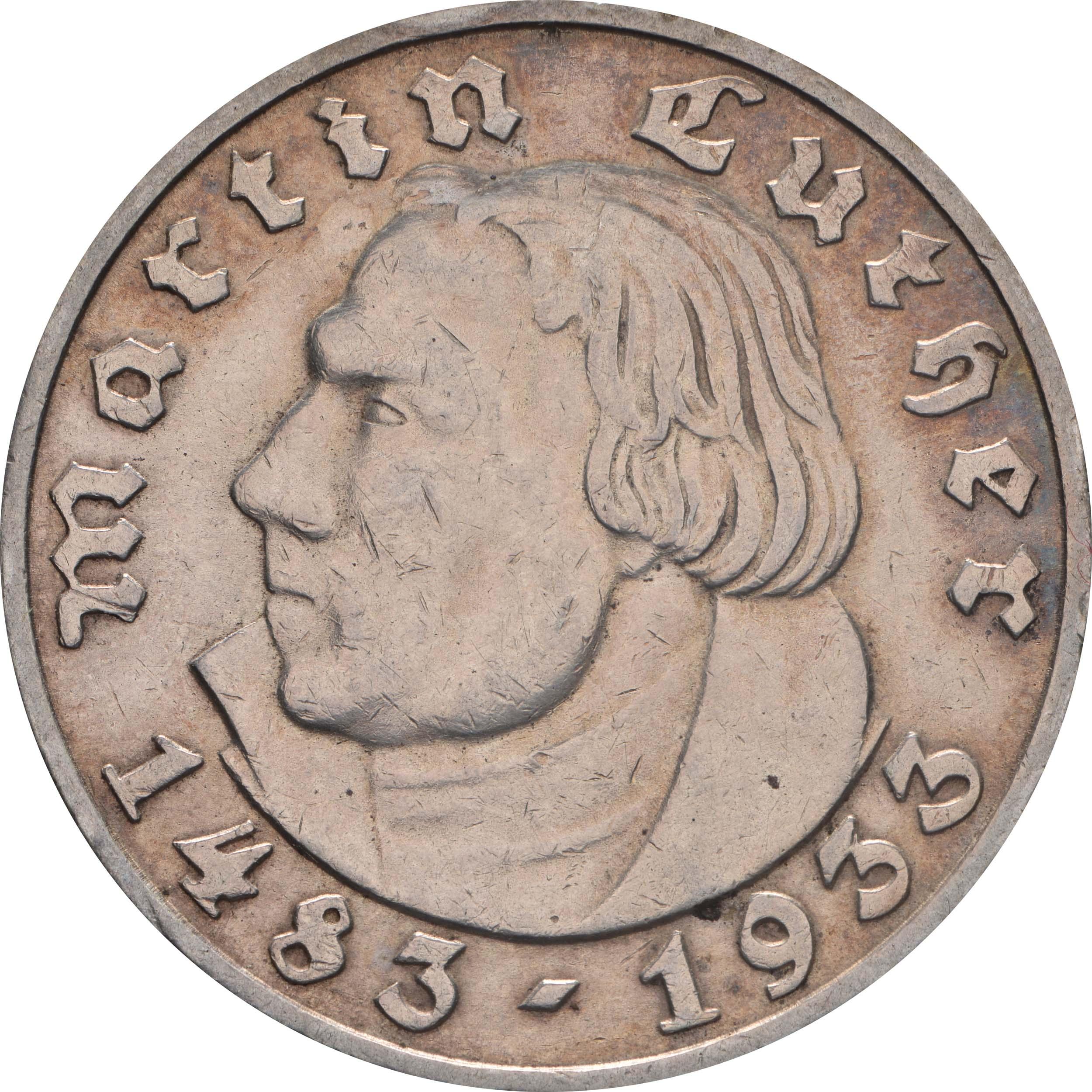 Vorderseite:Deutschland : 5 Reichsmark Luther patina 1933 ss/vz.