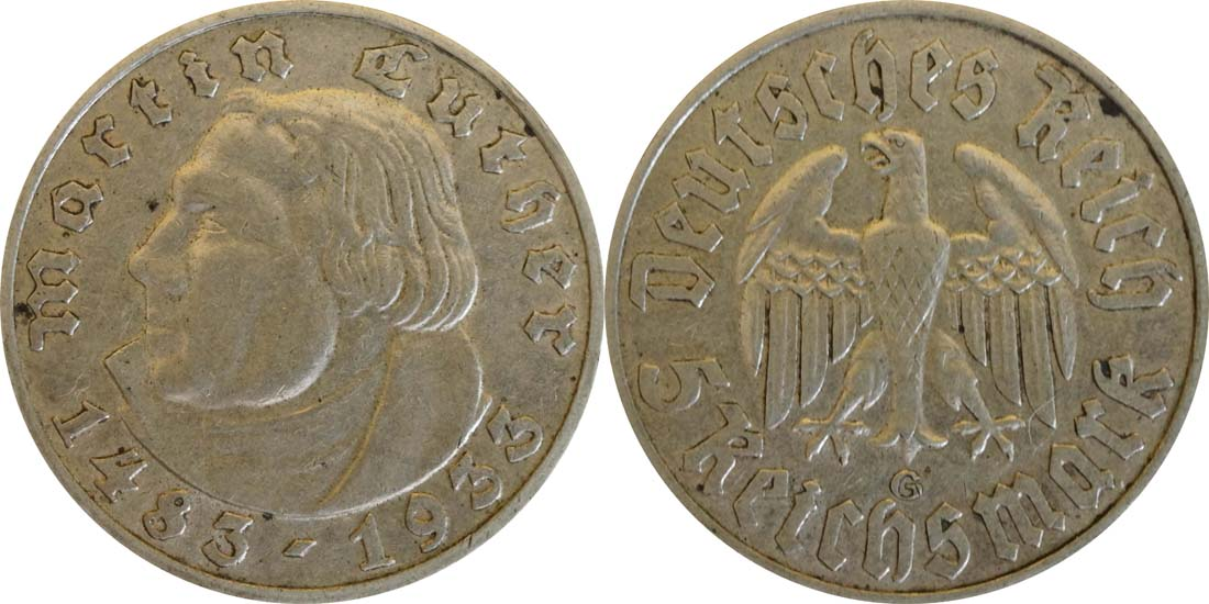 Deutschland : 5 Reichsmark Luther  1933 ss.