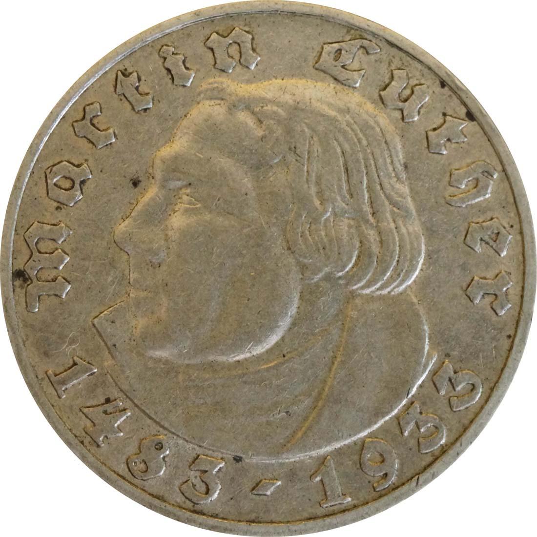 Vorderseite :Deutschland : 5 Reichsmark Luther  1933 ss.