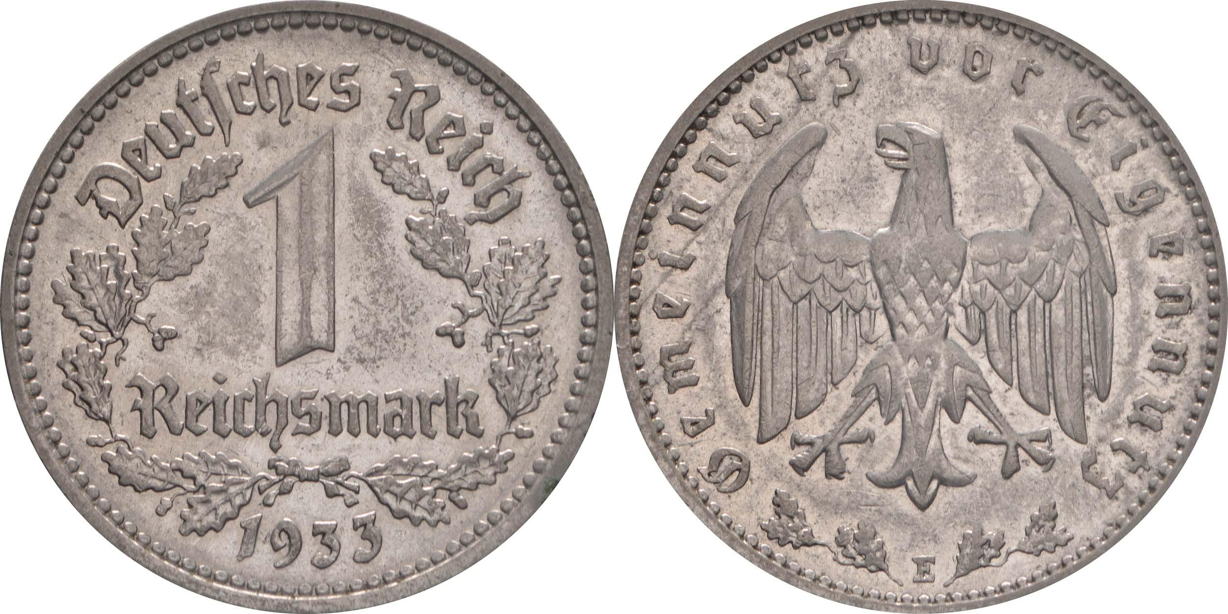 Übersicht:Deutschland : 1 Reichsmark Kursmünze  1933 vz/Stgl.