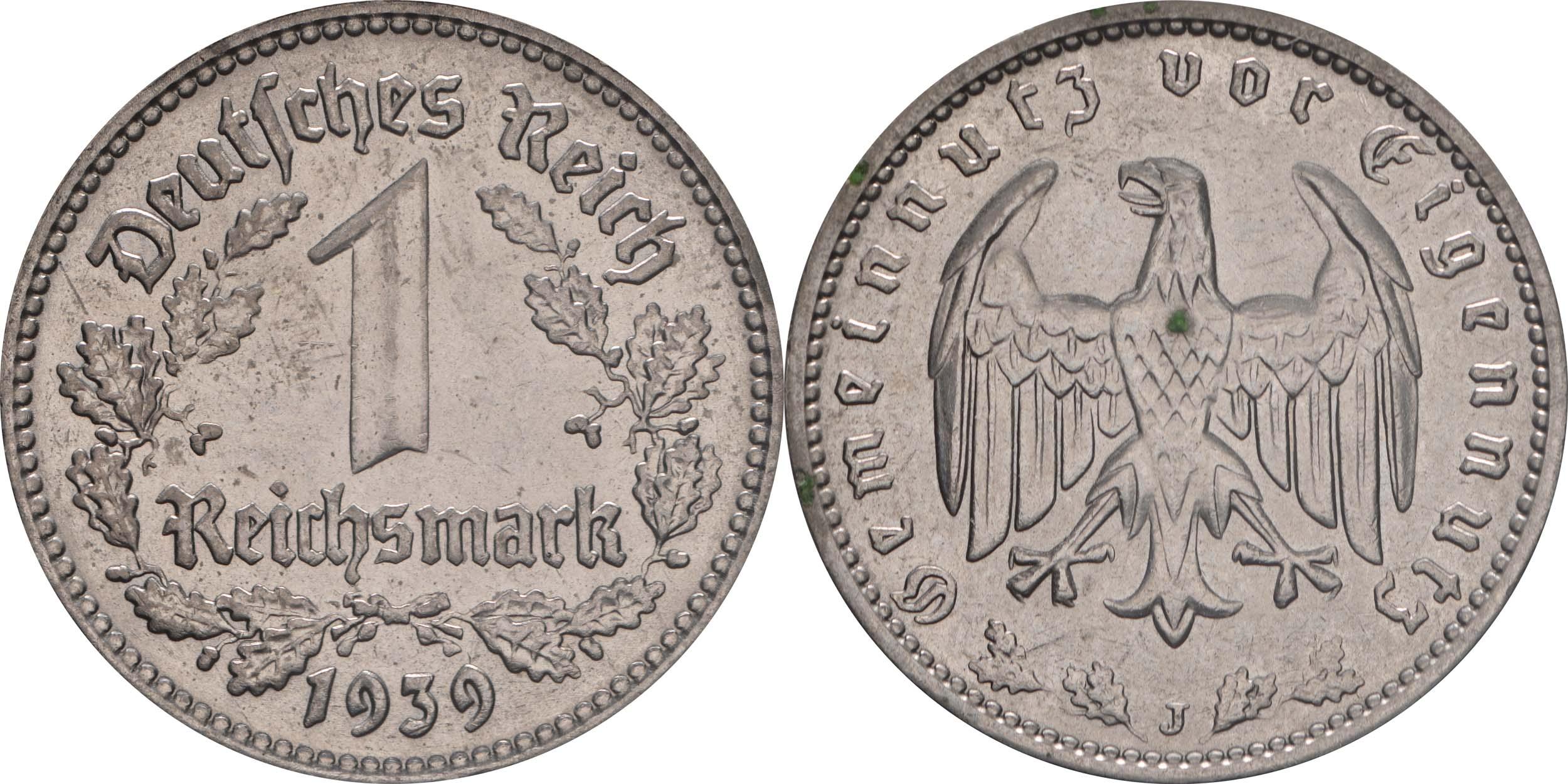 Deutschland : 1 Reichsmark Kursmünze  1939 vz/Stgl.
