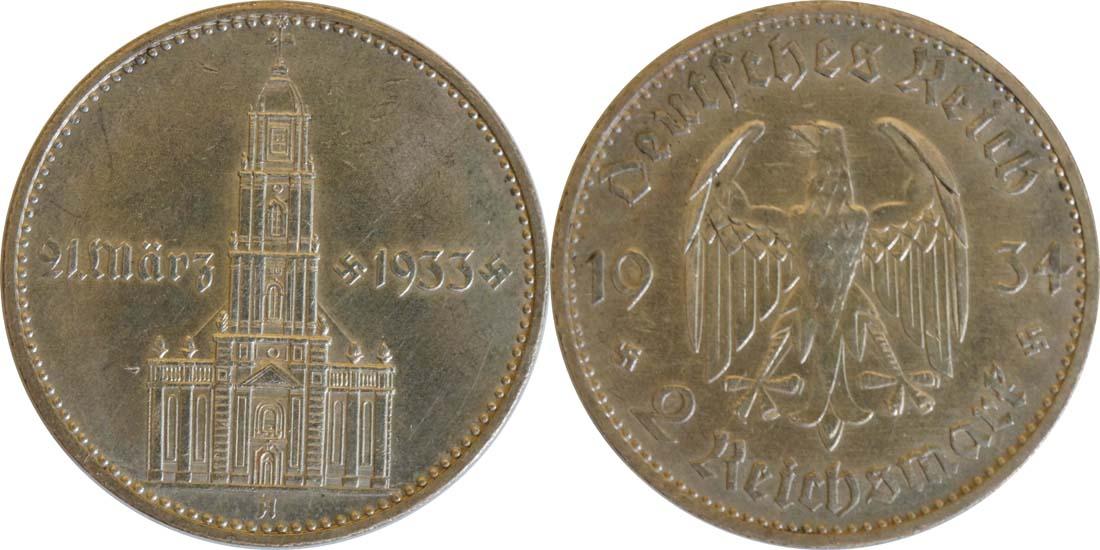 Übersicht:Deutschland : 2 Reichsmark Kirche mit Datum  1934 vz/Stgl.