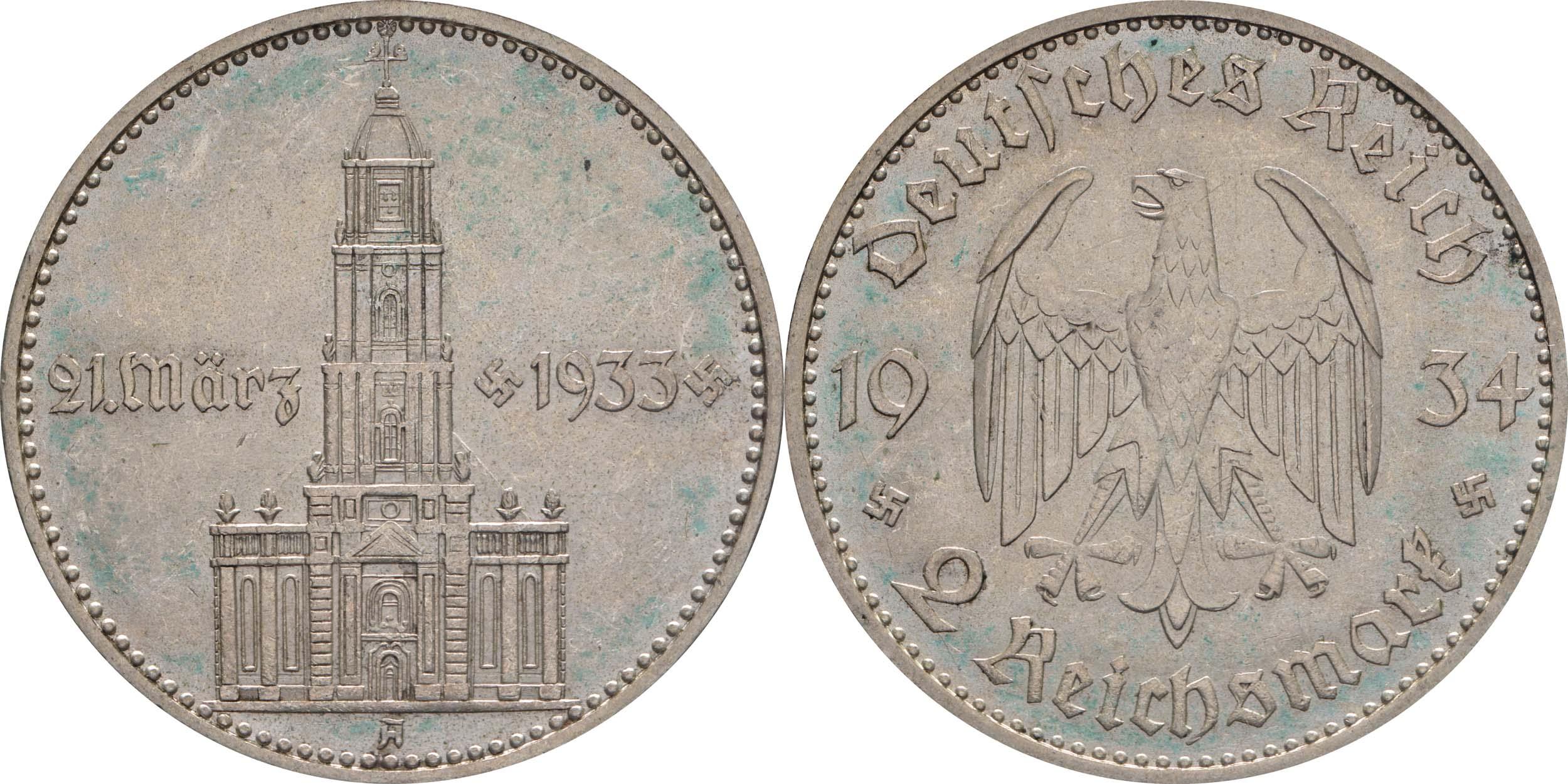 Lieferumfang:Deutschland : 2 Reichsmark Kirche mit Datum  1934 vz/Stgl.