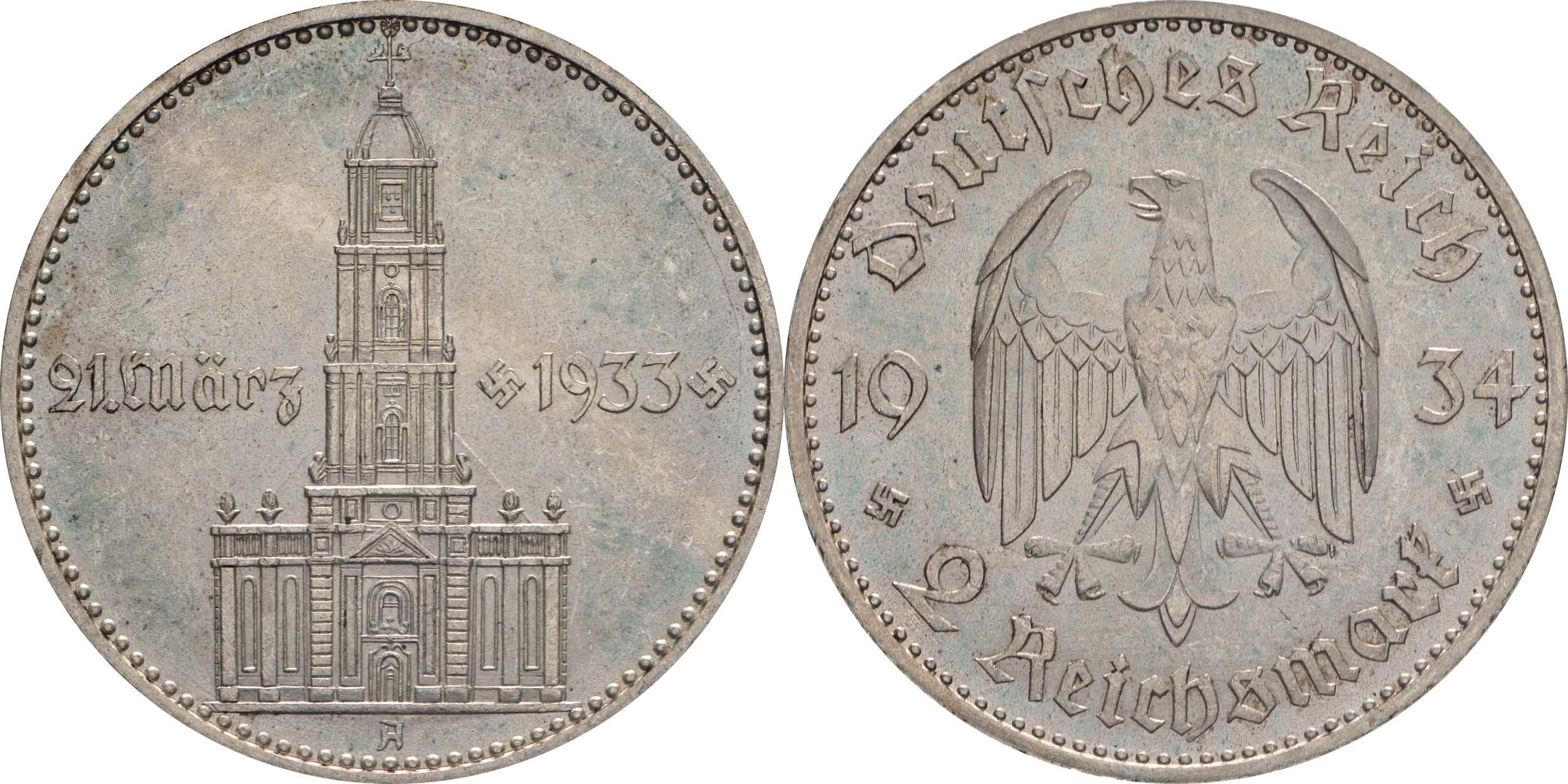 Übersicht:Deutschland : 2 Reichsmark Kirche mit Datum -seltene Erhaltung- 1934 vz/Stgl.