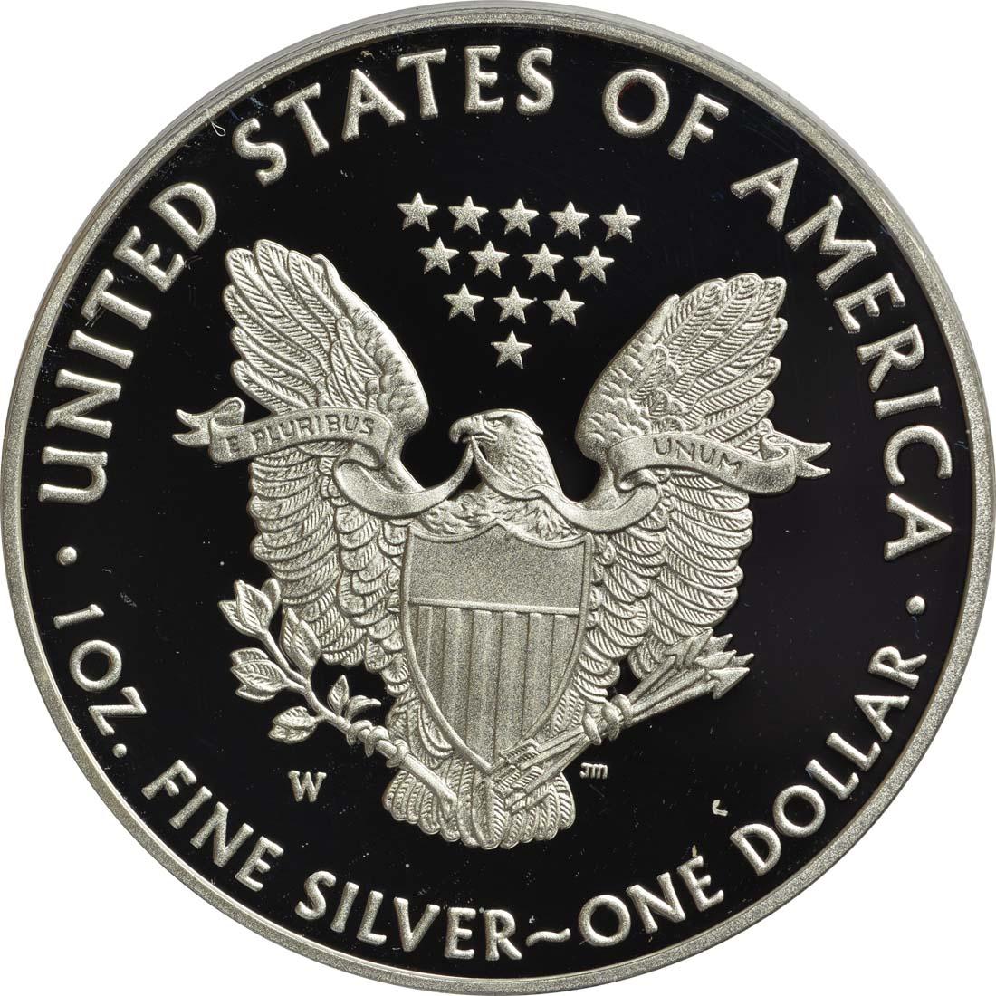 Rückseite:USA : 1 Dollar 30 Jahre Silber Eagle  2016 PP