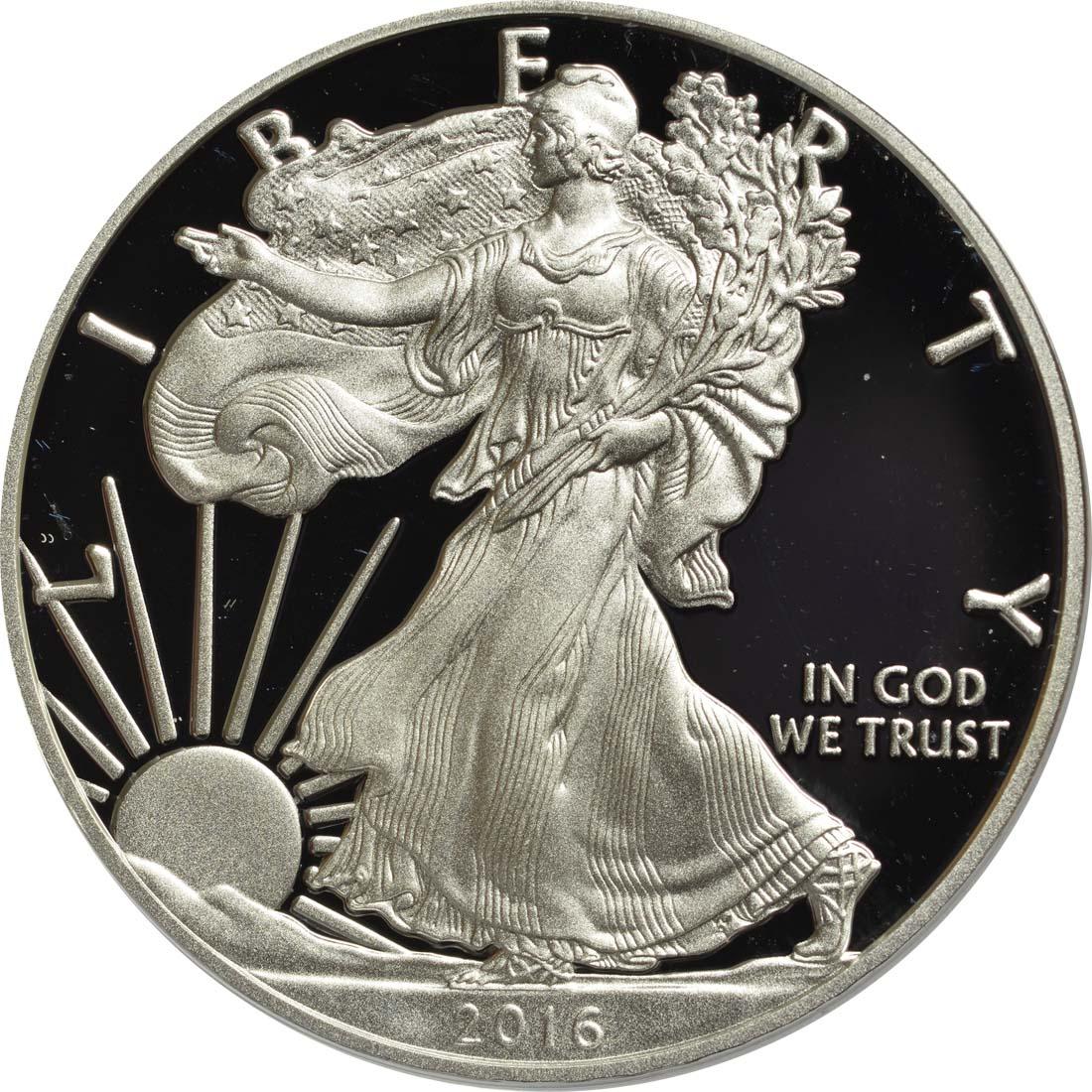 Vorderseite:USA : 1 Dollar 30 Jahre Silber Eagle  2016 PP