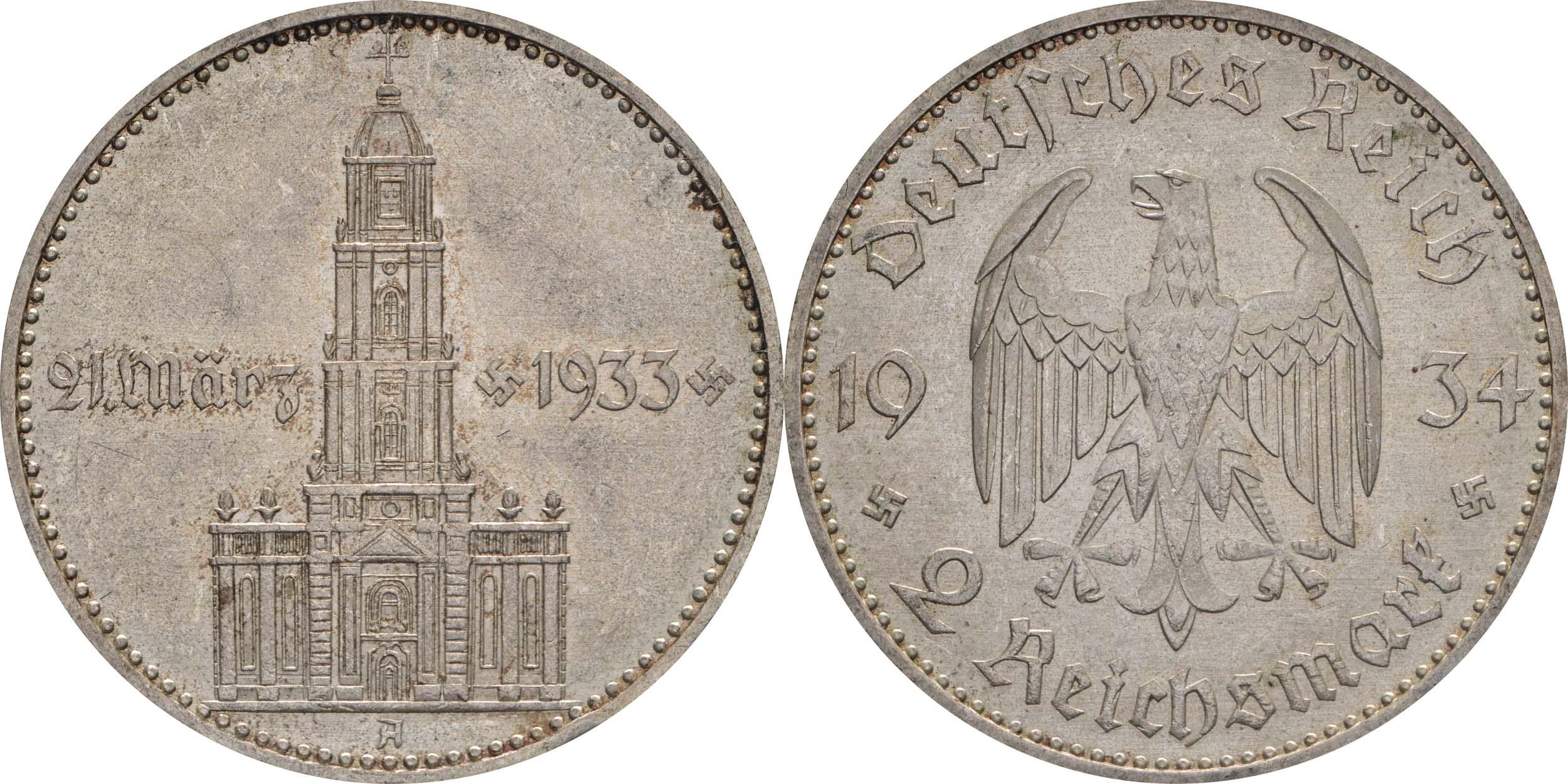 Übersicht:Deutschland : 2 Reichsmark Kirche mit Datum  1934 vz.