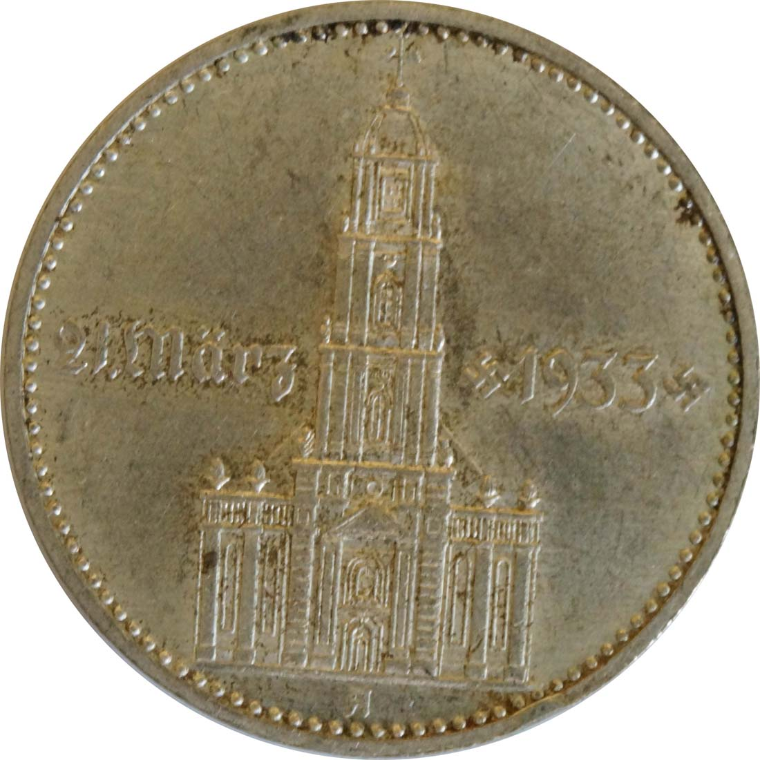 Vorderseite:Deutschland : 2 Reichsmark Kirche mit Datum  1934 vz.