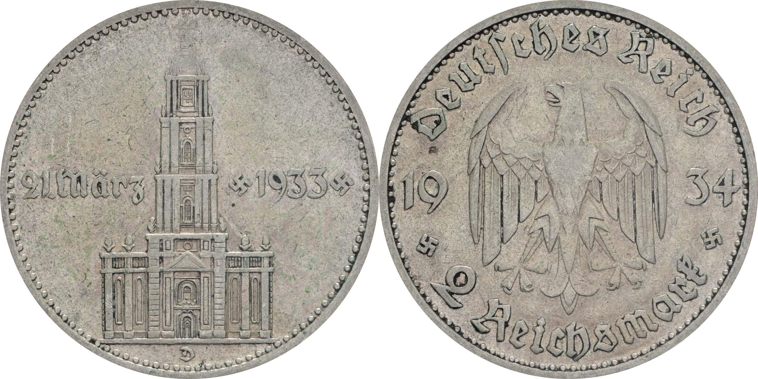Übersicht:Deutschland : 2 Reichsmark Kirche mit Datum  1934 ss.