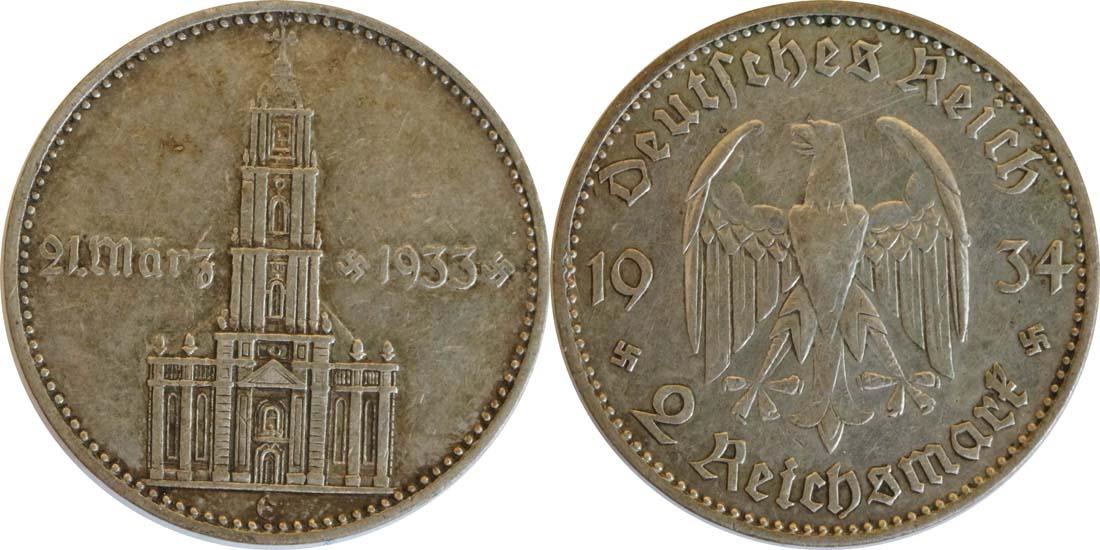 Deutschland : 2 Reichsmark Kirche mit Datum  1934 ss.