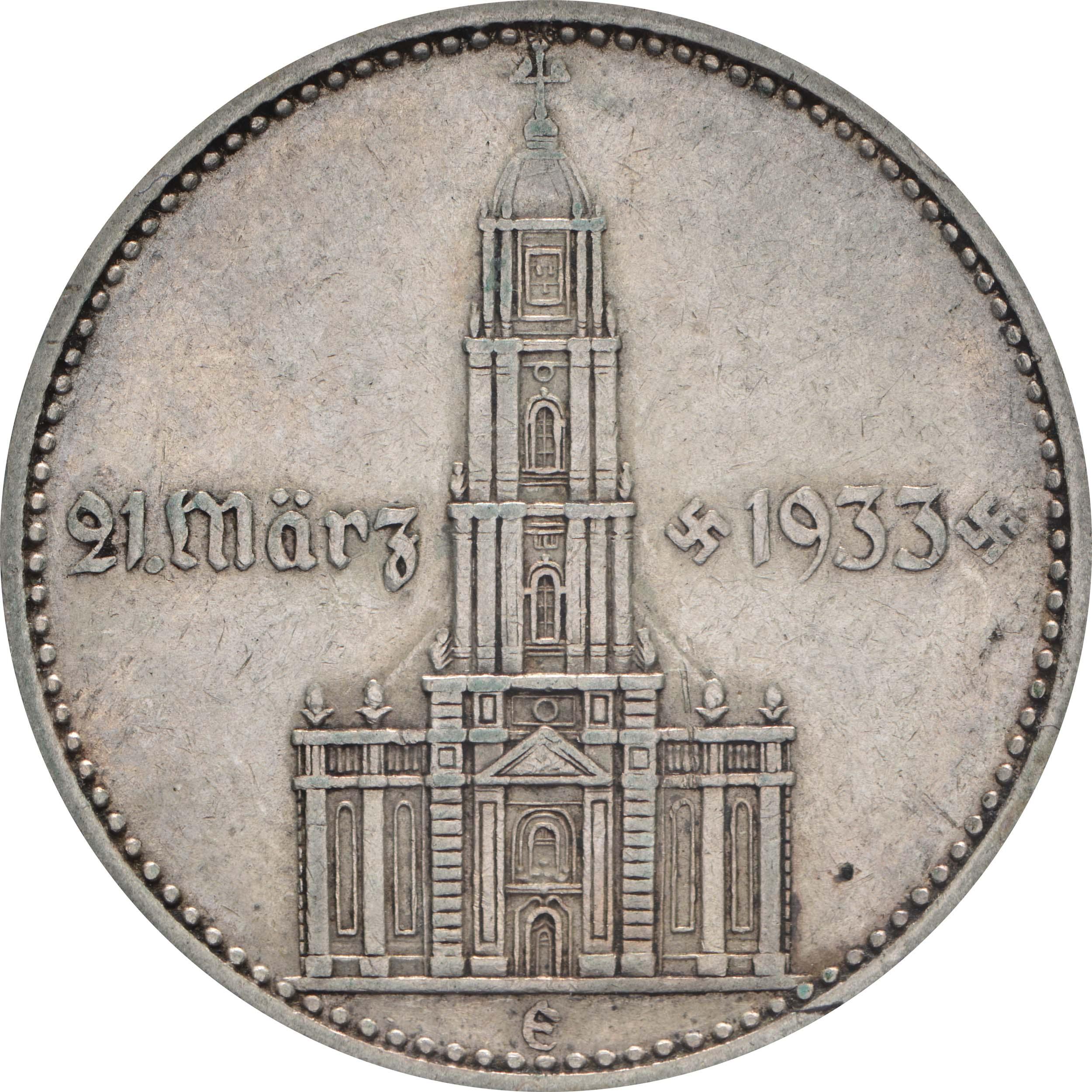 Vorderseite:Deutschland : 2 Reichsmark Kirche mit Datum  1934 ss.