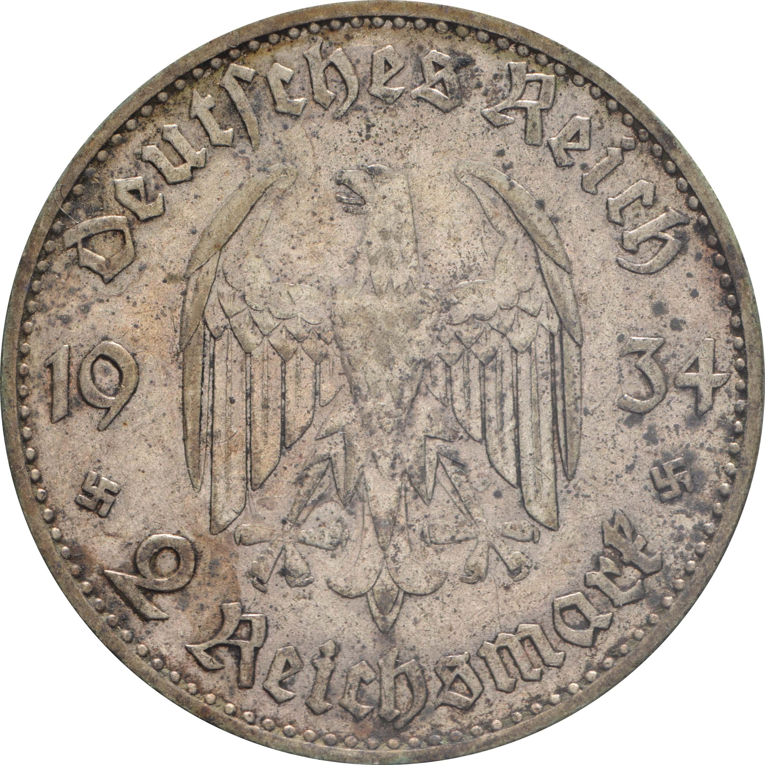 Rückseite:Deutschland : 2 Reichsmark Kirche mit Datum patina 1934 ss.