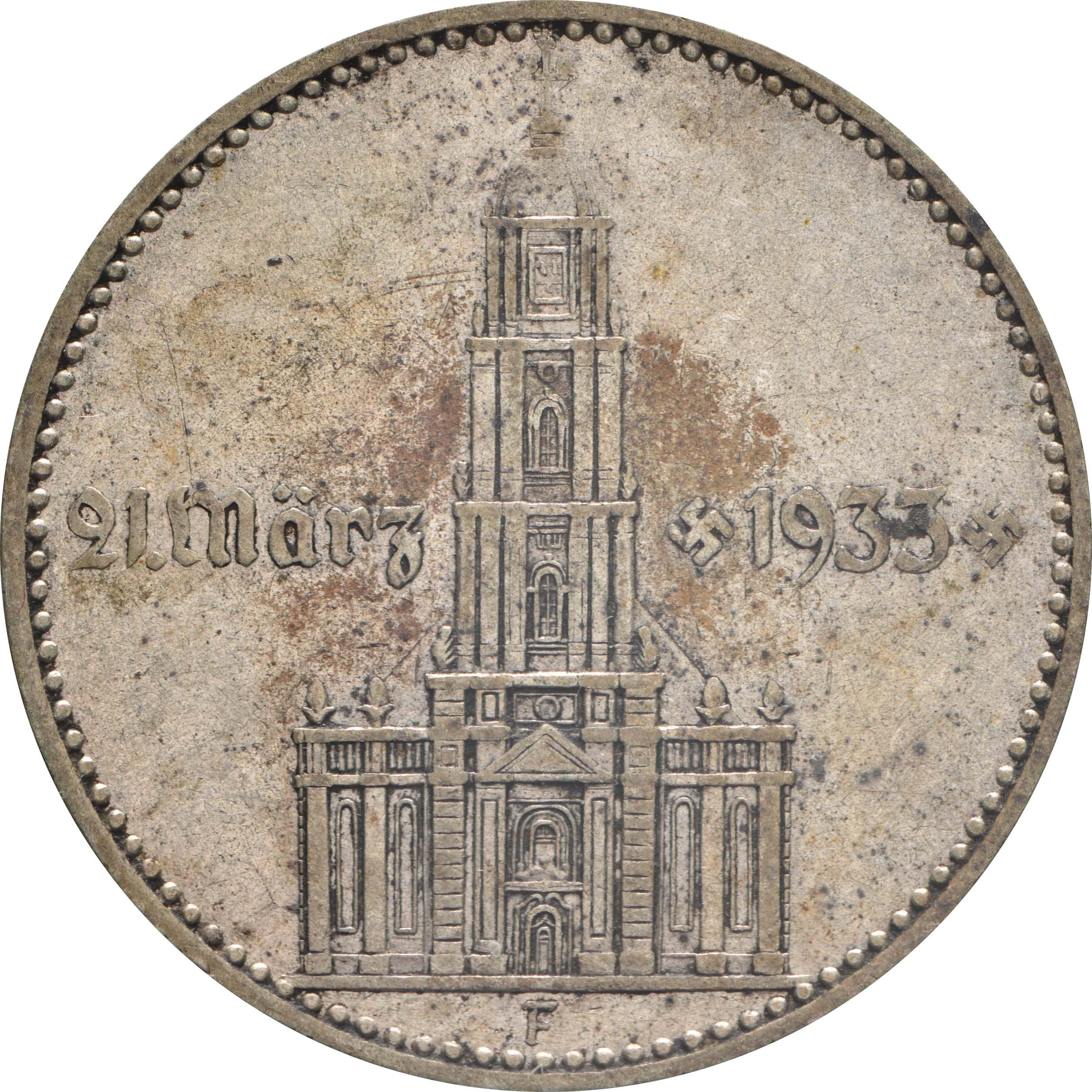 Vorderseite:Deutschland : 2 Reichsmark Kirche mit Datum patina 1934 ss.
