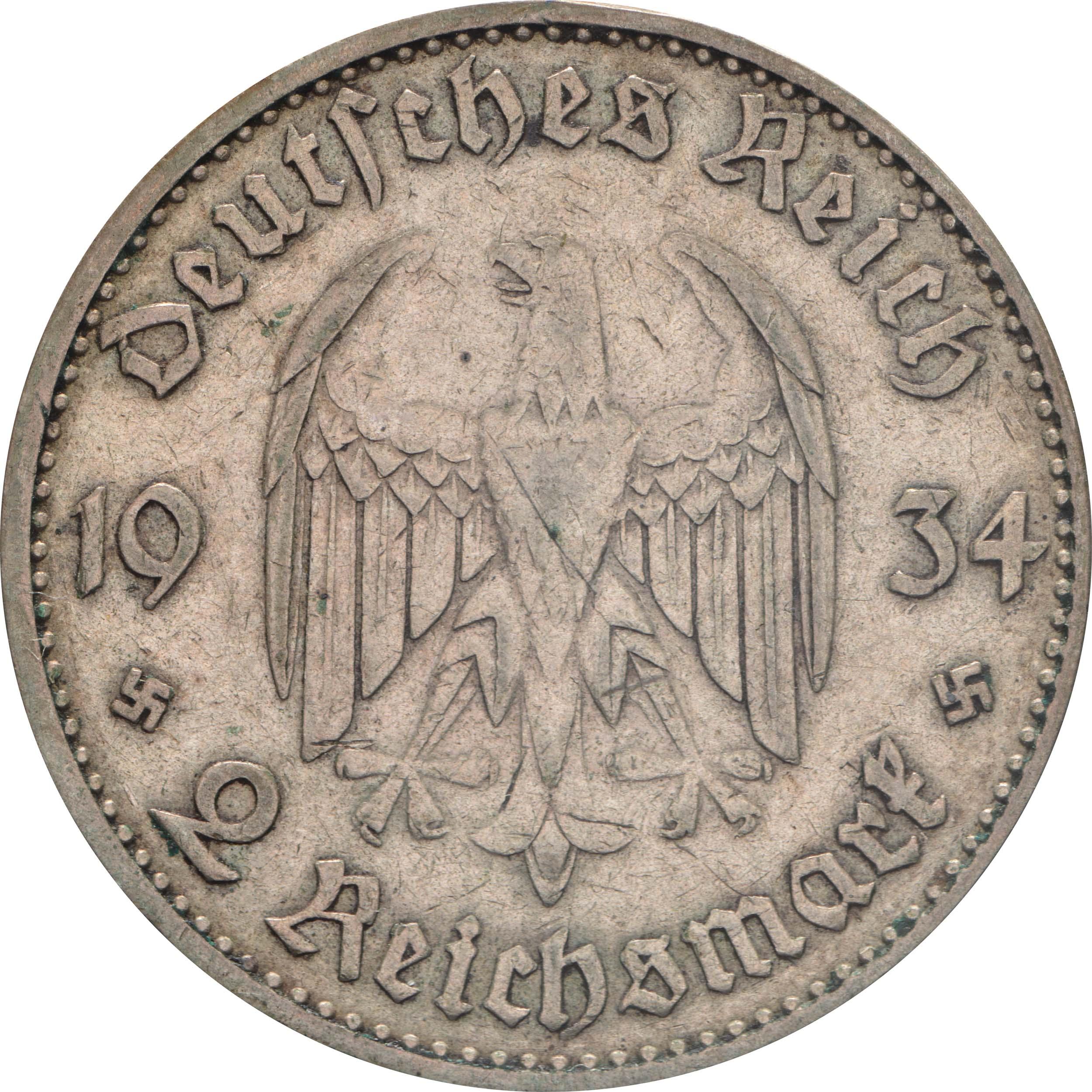Rückseite :Deutschland : 2 Reichsmark Kirche mit Datum  1934 ss.