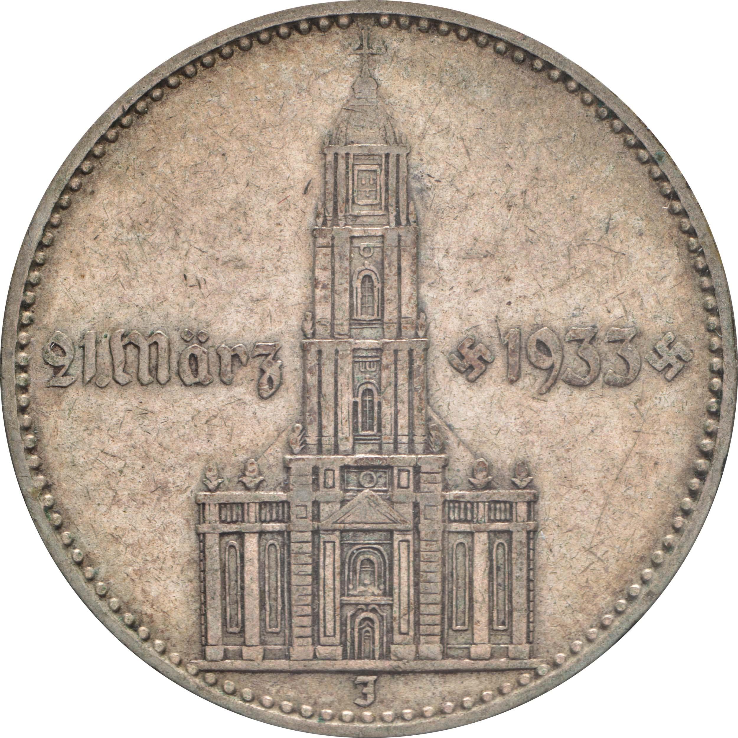Vorderseite :Deutschland : 2 Reichsmark Kirche mit Datum  1934 ss.