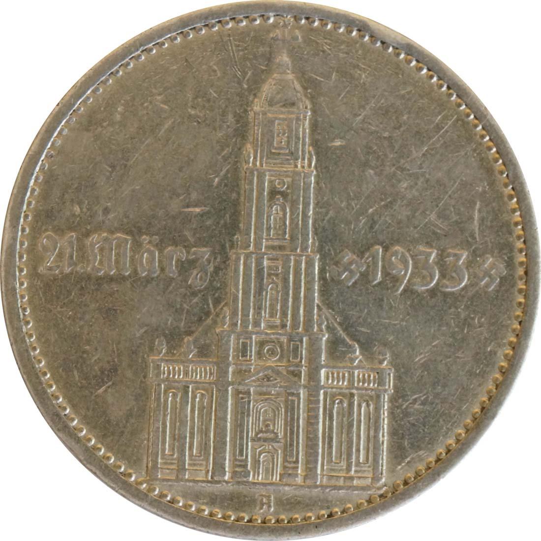 deutschland 5 reichsmark kirche mit datum 1934 a silber ss 16 euro. Black Bedroom Furniture Sets. Home Design Ideas