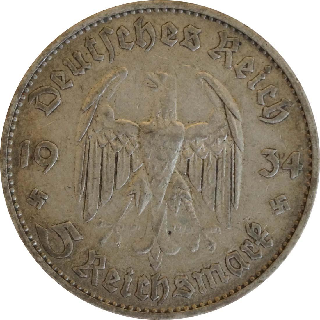 Rückseite:Deutschland : 5 Reichsmark Kirche mit Datum  1934 ss.