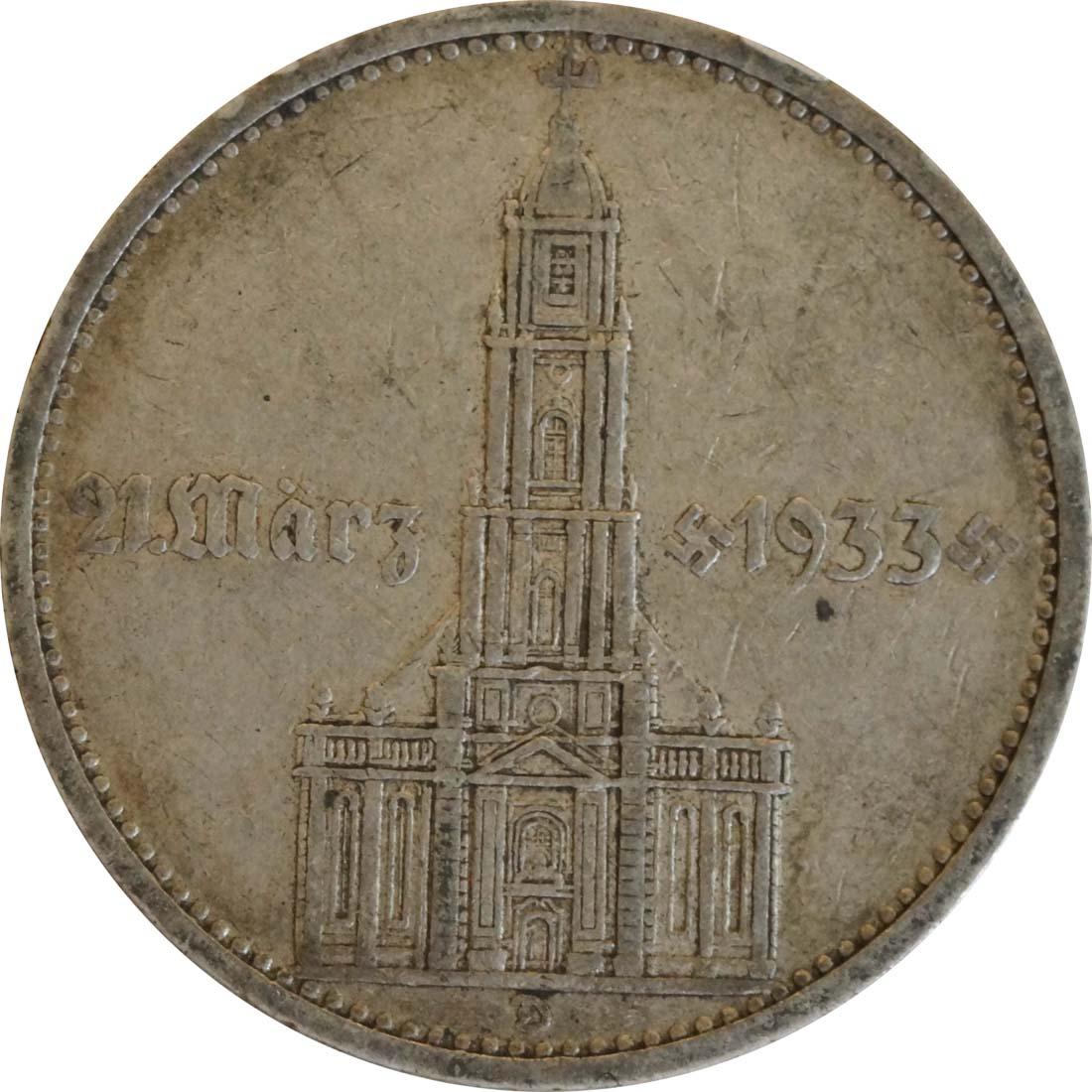 Vorderseite:Deutschland : 5 Reichsmark Kirche mit Datum  1934 ss.