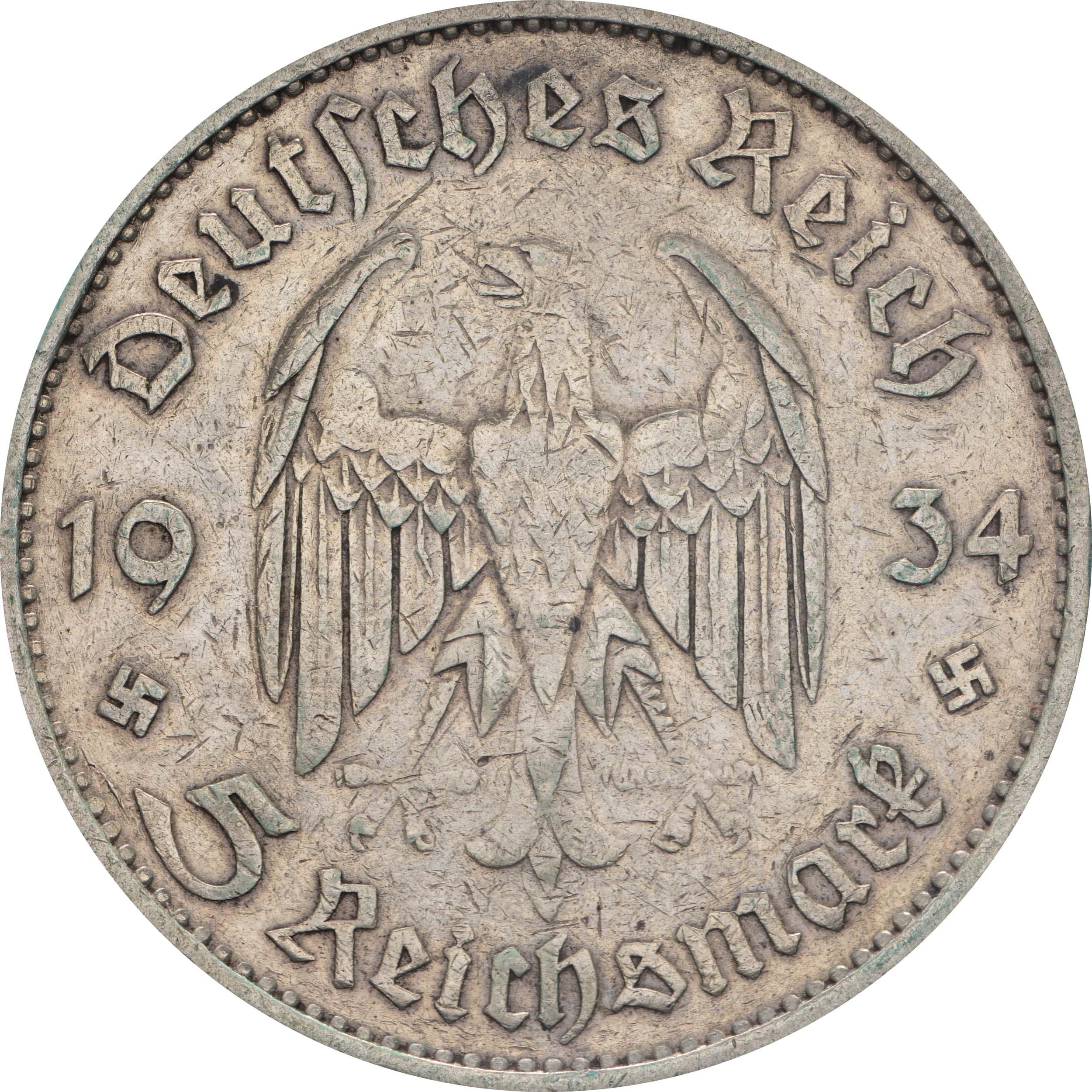 Rückseite :Deutschland : 5 Reichsmark Kirche mit Datum  1934 ss.
