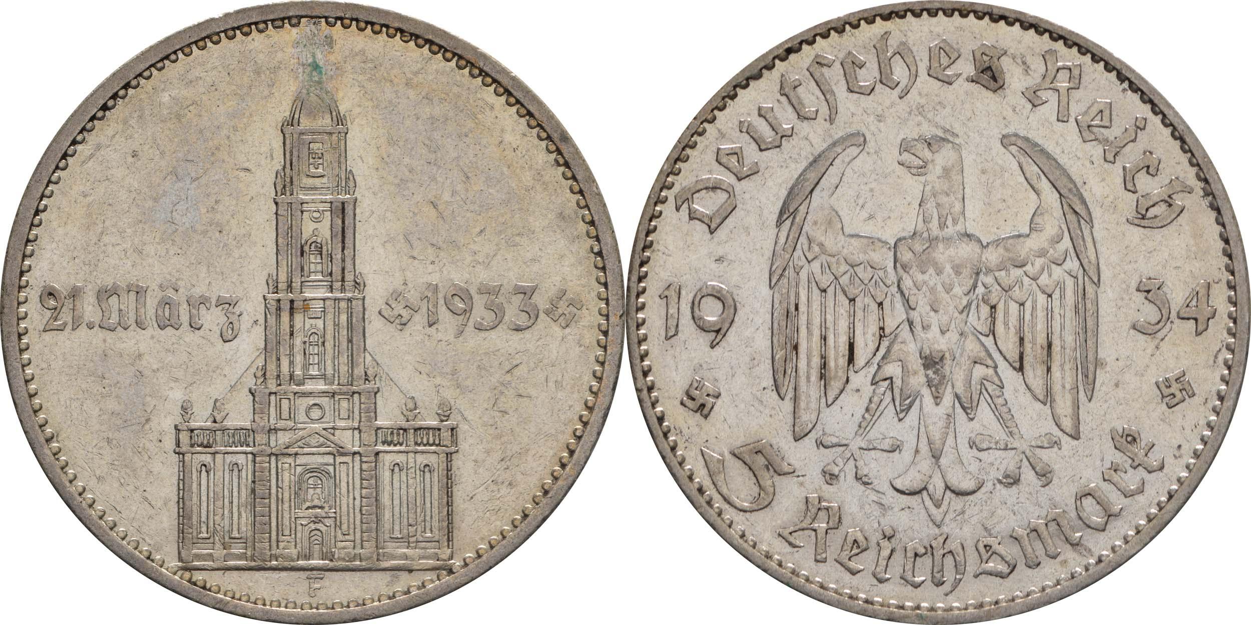 Deutschland : 5 Reichsmark Kirche mit Datum  1934 s/ss.