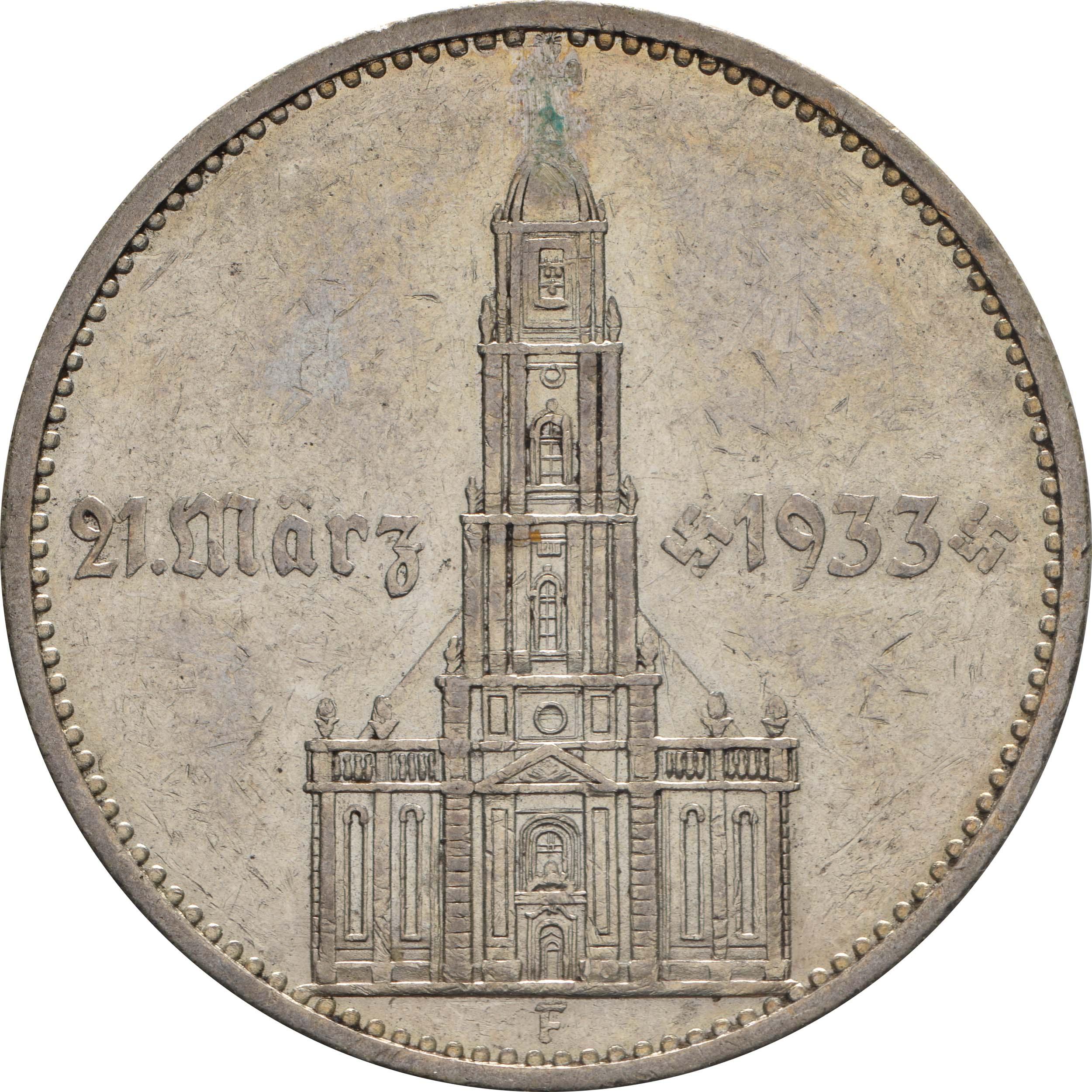 Vorderseite :Deutschland : 5 Reichsmark Kirche mit Datum  1934 s/ss.