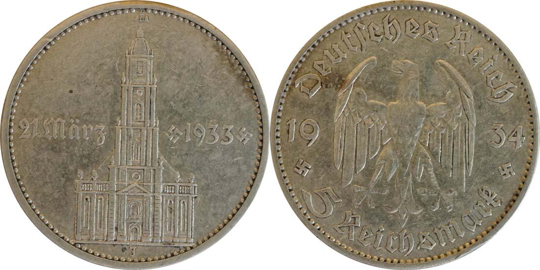 Deutschland : 5 Reichsmark Kirche mit Datum  1934 f.ss