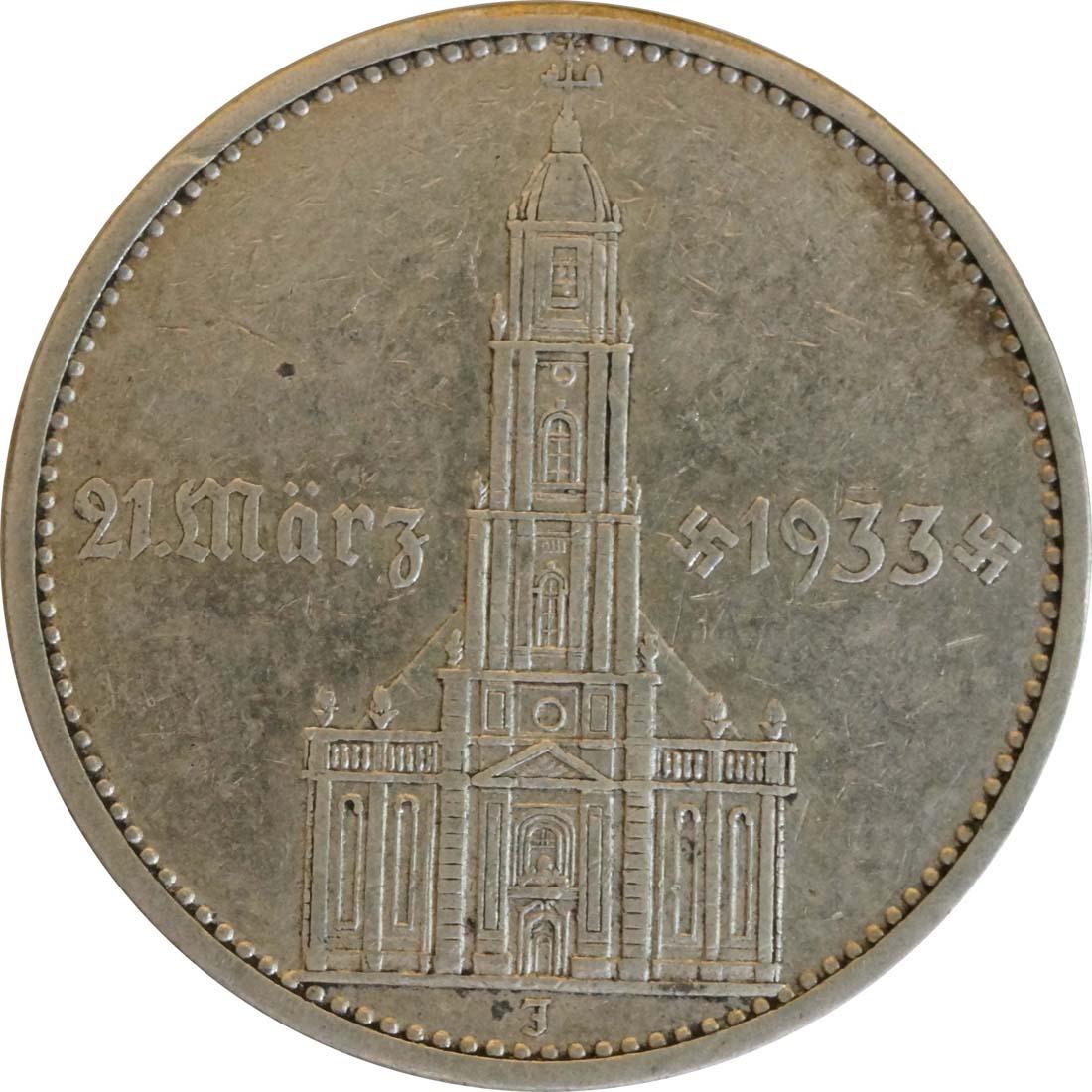 Vorderseite :Deutschland : 5 Reichsmark Kirche mit Datum  1934 f.ss