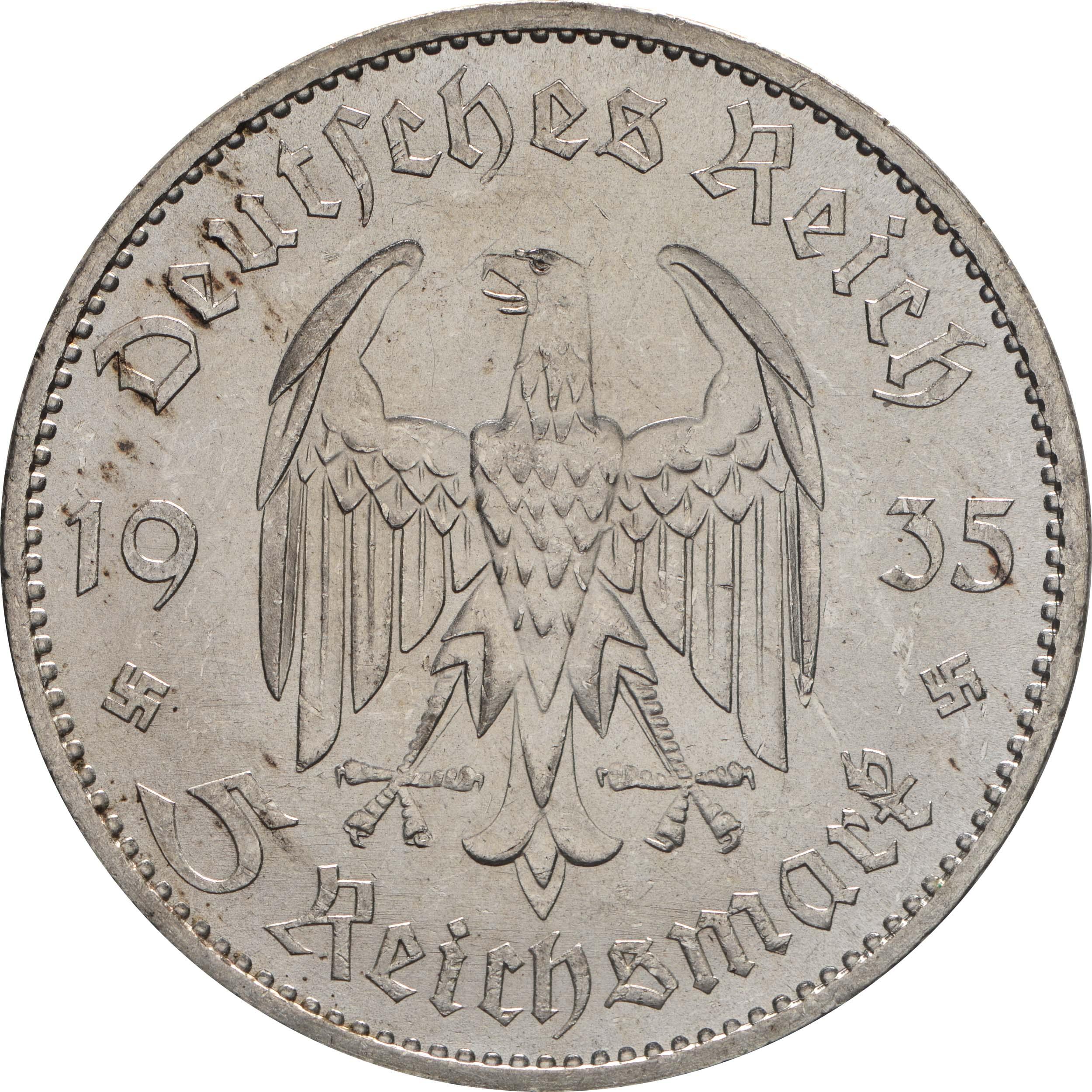 Rückseite:Deutschland : 5 Reichsmark Kirche ohne Datum  1935 vz/Stgl.