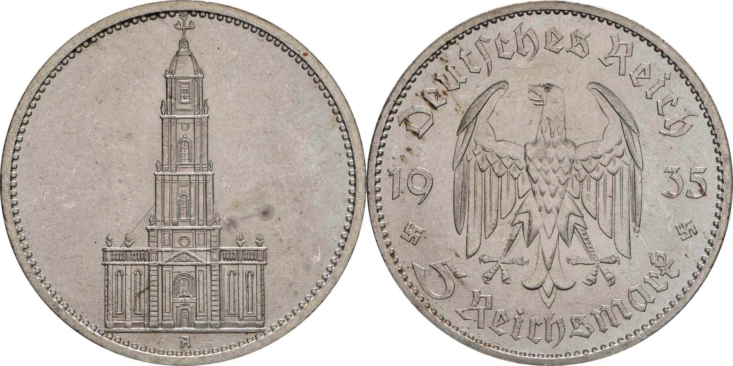 Übersicht:Deutschland : 5 Reichsmark Kirche ohne Datum  1935 vz/Stgl.